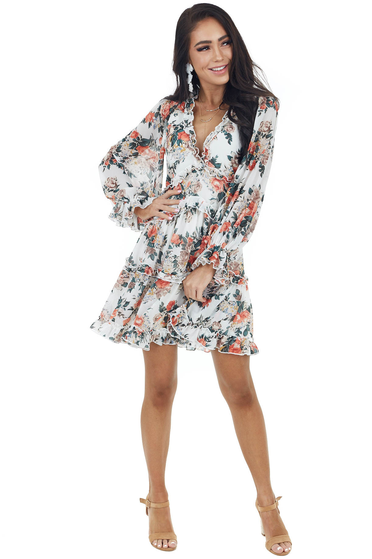 Ivory and Floral Long Sleeve Short Dress with Ruffle Detail