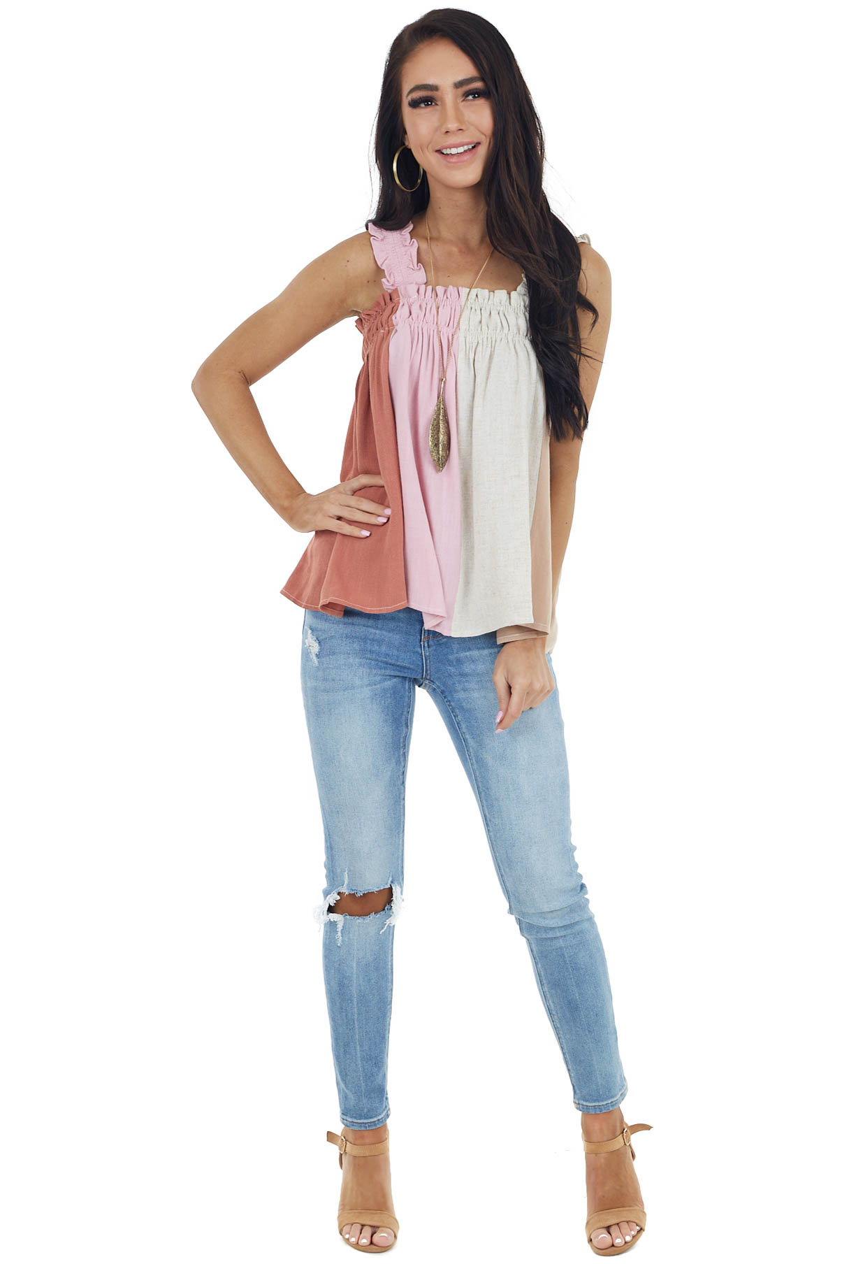 Baby Pink Colorblock Knit Tank Top with Elastic Band