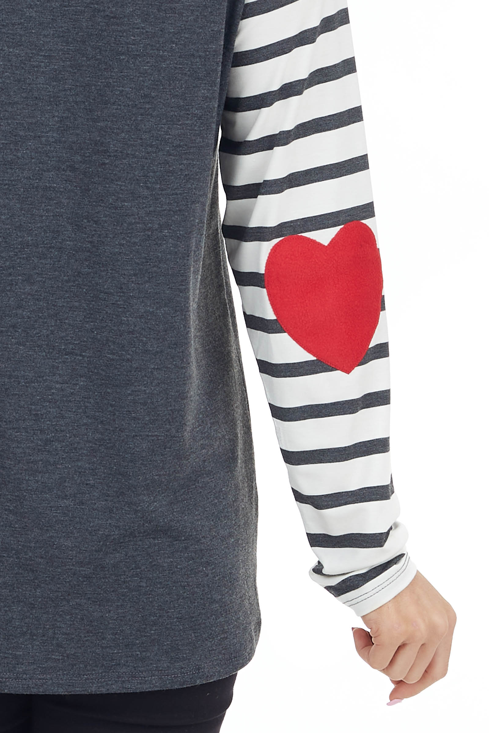Ivory and Charcoal Long Sleeve Raglan Top with Heart Patches