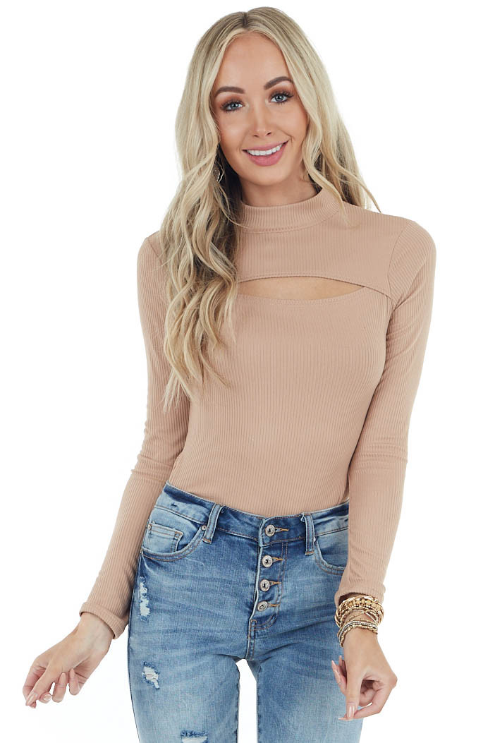 Light Camel High Neck Ribbed Knit Bodysuit with Cut Out