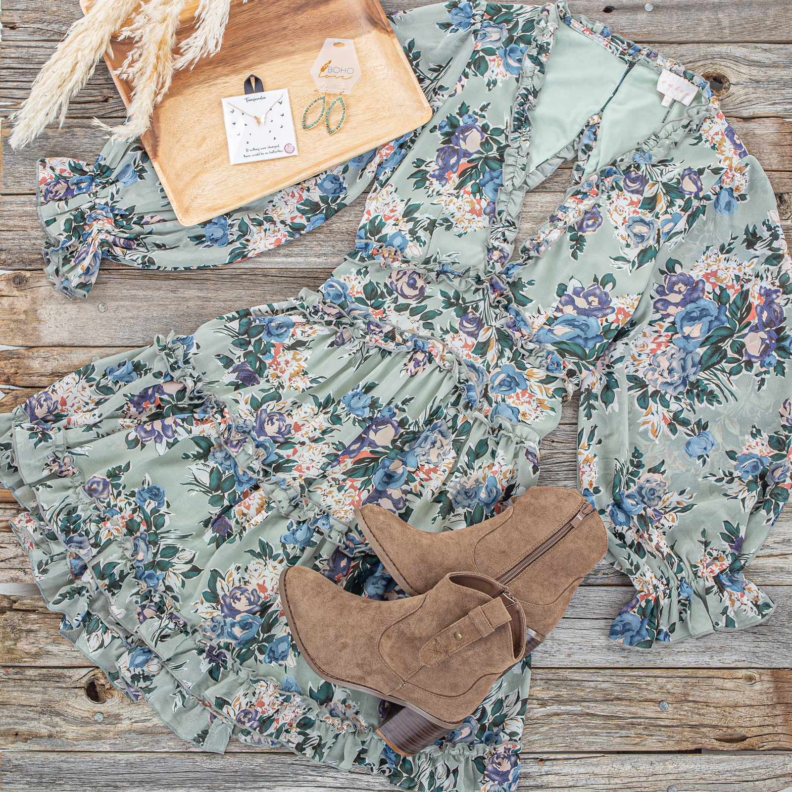 Sage and Floral Long Sleeve Short Dress with Ruffle Detail