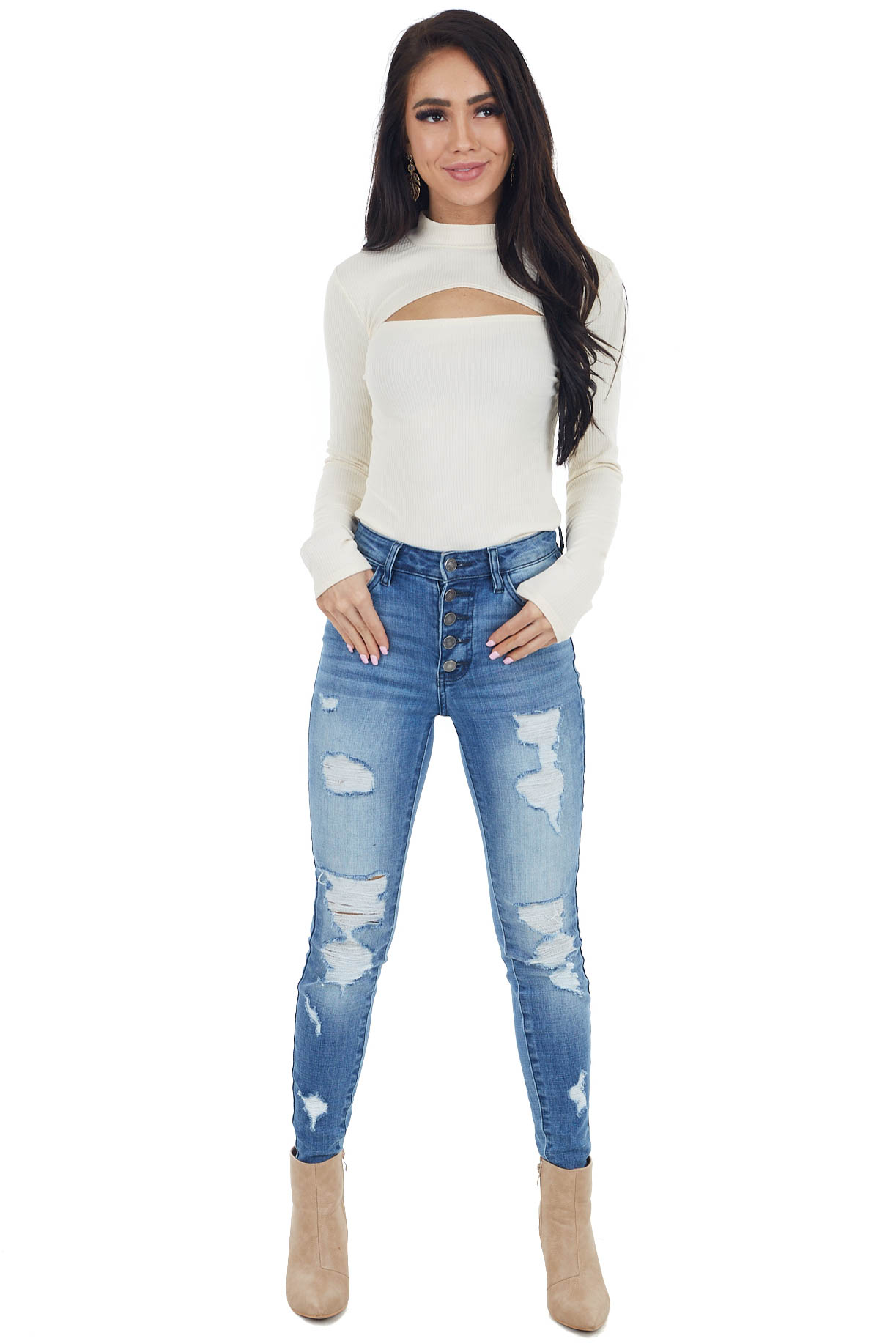 Cream High Neck Ribbed Knit Bodysuit with Cut Out