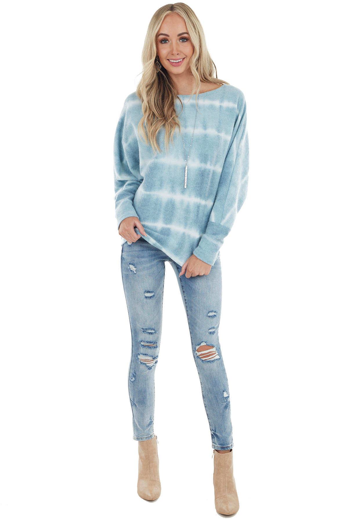 Light Blue Tie Dye Brushed Knit Top with Dolman Sleeves