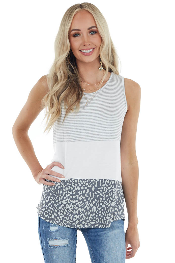 Ivory and Grey Tank Top with Leopard and Striped Contrast
