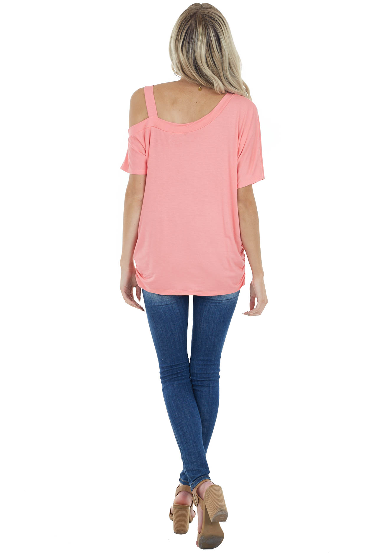 Coral Short Sleeve One Cold Shoulder Top with Ruching