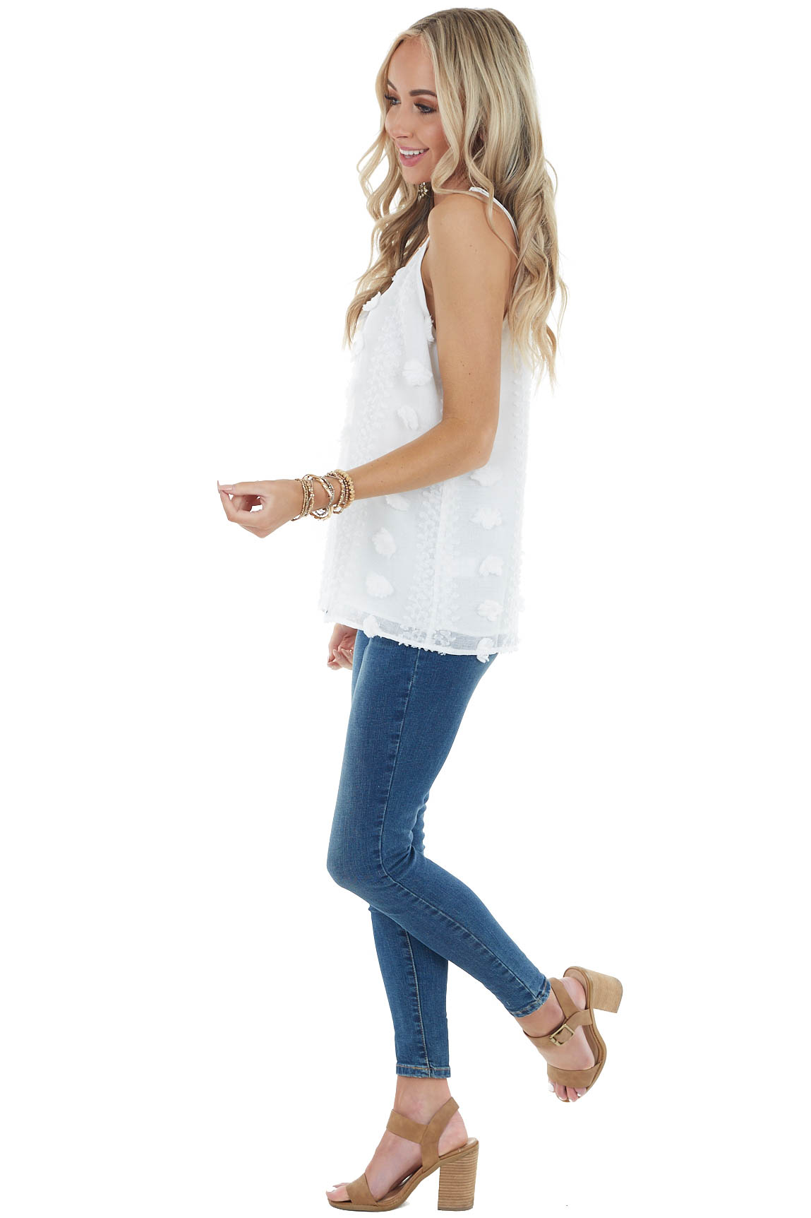 Ivory V Neckline Flowy Tank Top with Textured Details