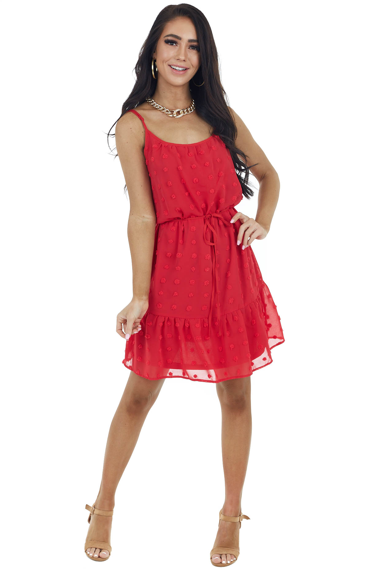 Ruby Sleeveless Swiss Dot Dress with Waist Tie Detail
