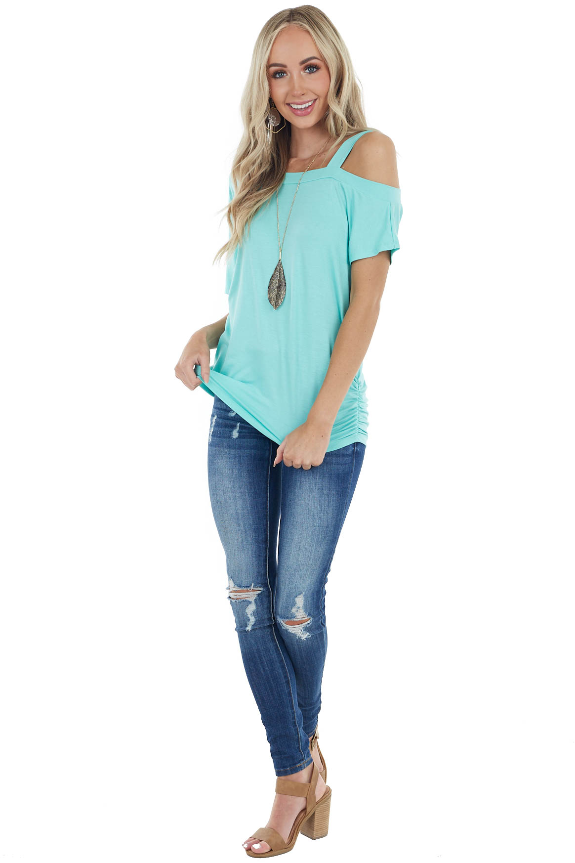 Turquoise Short Sleeve One Cold Shoulder Top with Ruching