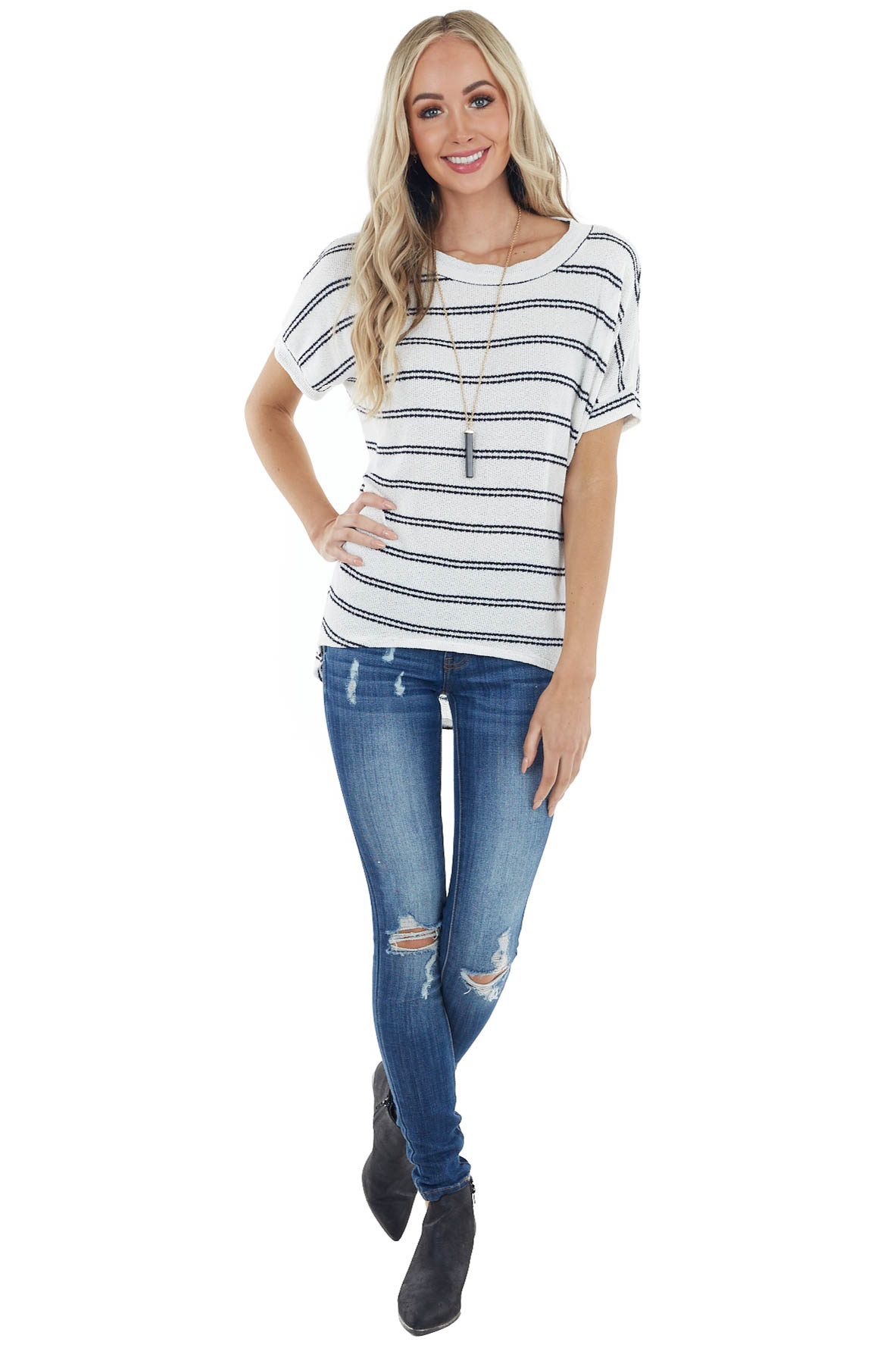 Ivory and Navy Striped Knit Top with Short Dolman Sleeves