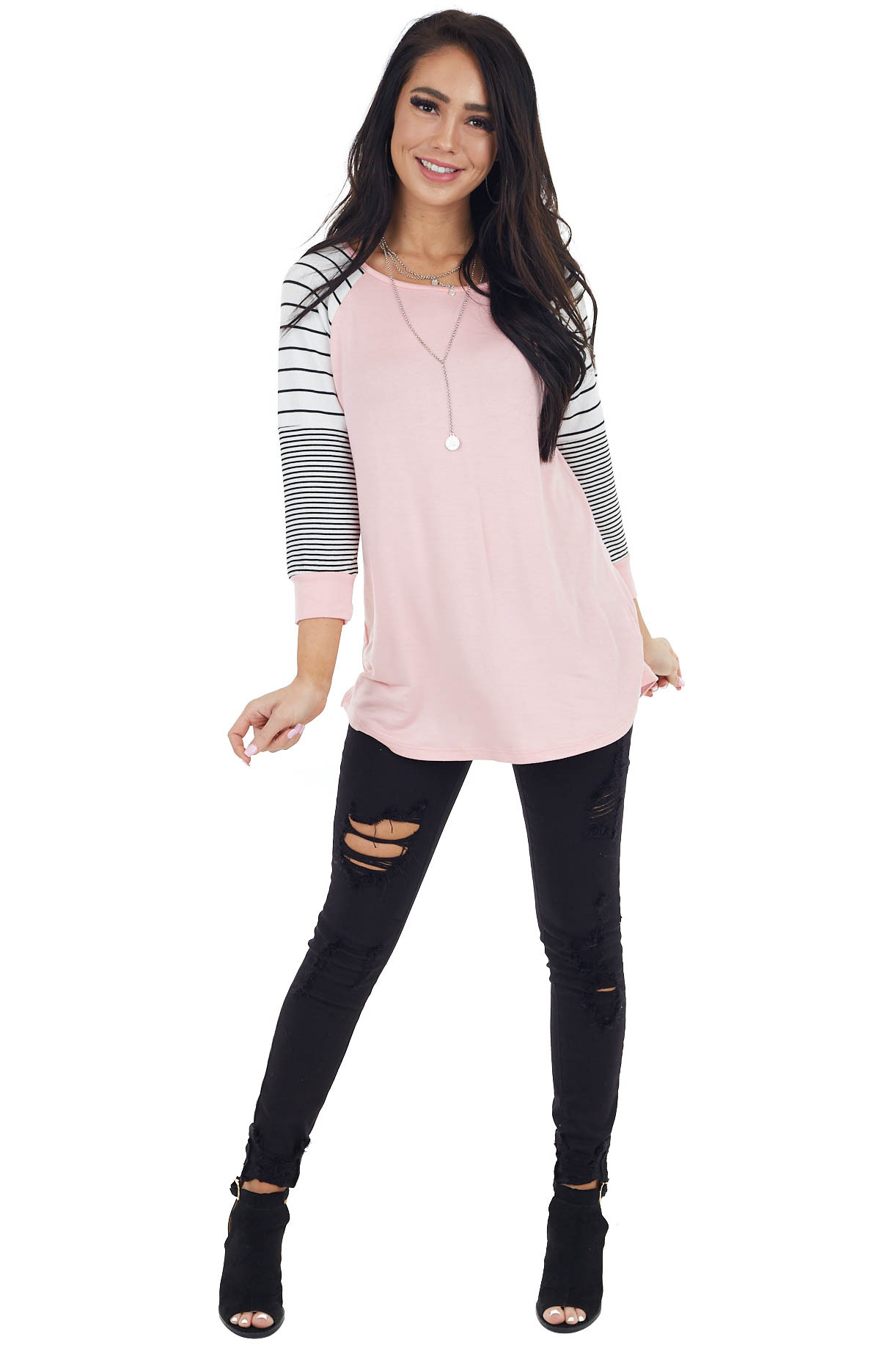 Baby Pink 3/4 Striped Raglan Sleeve Top with Rounded Neck
