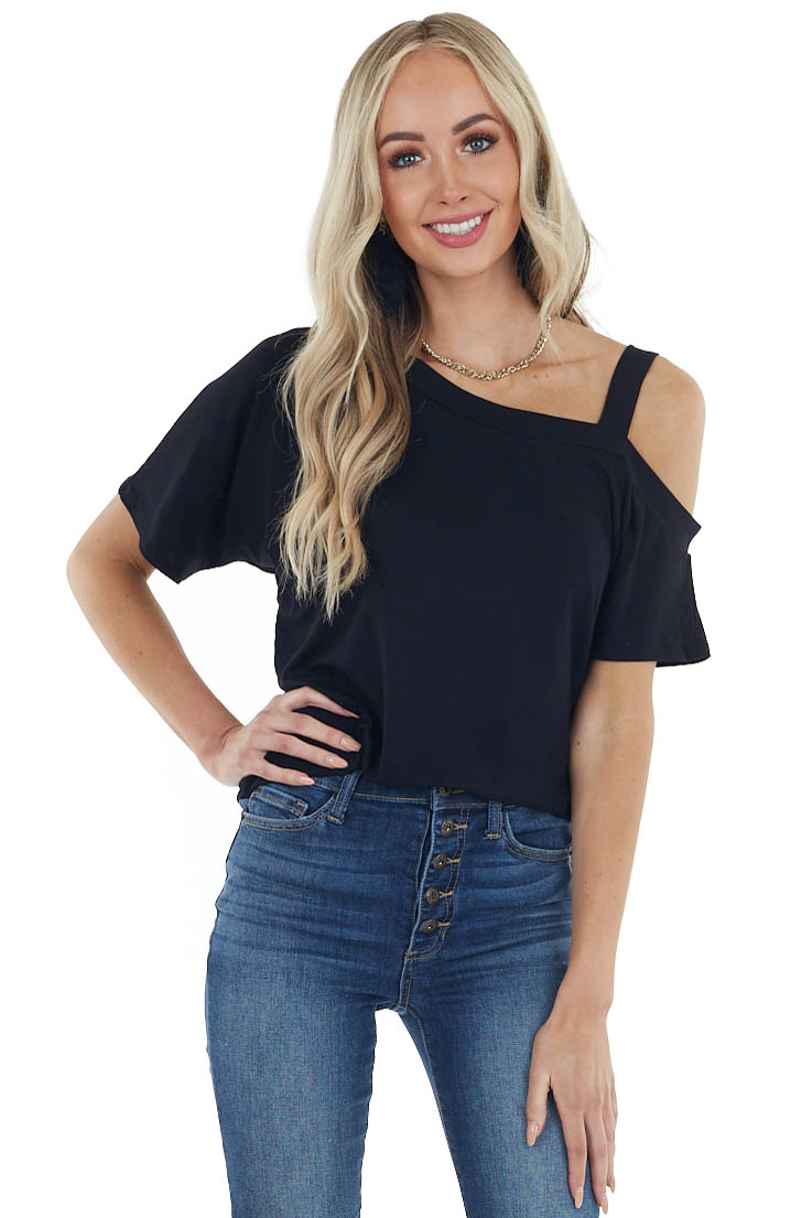 Black Short Sleeve One Cold Shoulder Top with Ruching