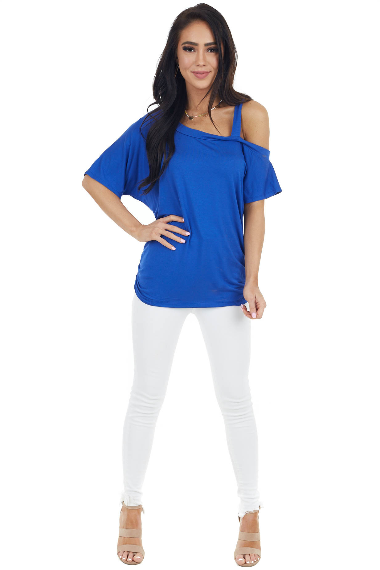 Royal Blue Short Sleeve One Cold Shoulder Top with Ruching