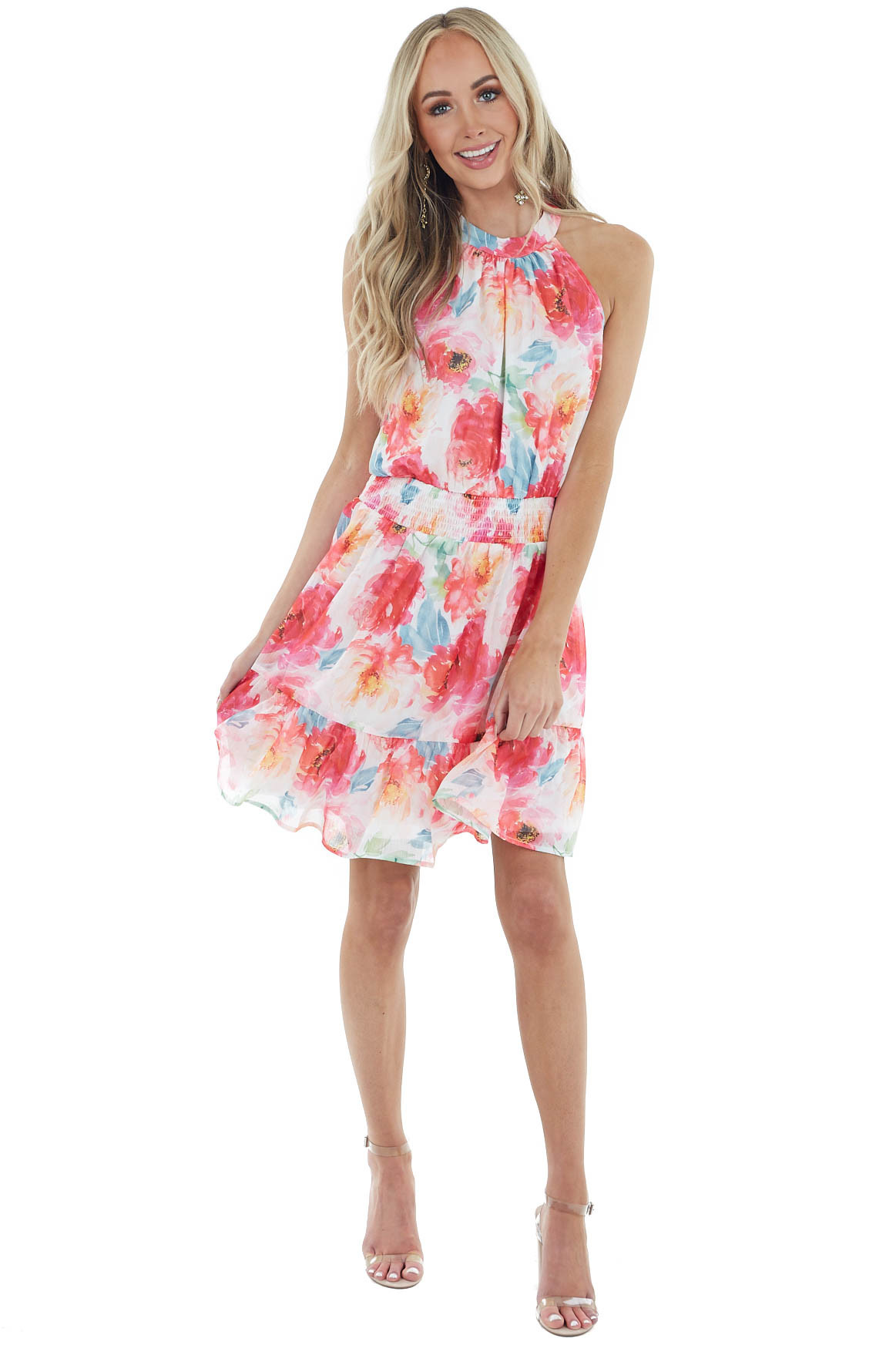Lipstick Red Floral Print Sleeveless Short Tiered Dress