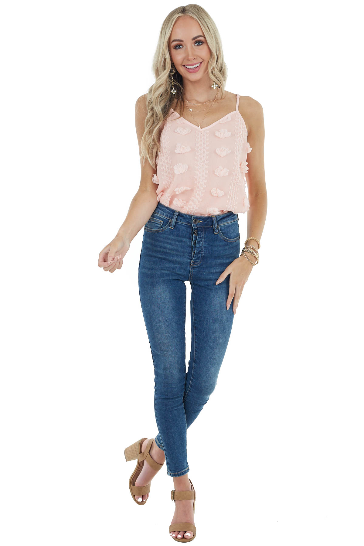 Peach V Neckline Flowy Tank Top with Textured Details