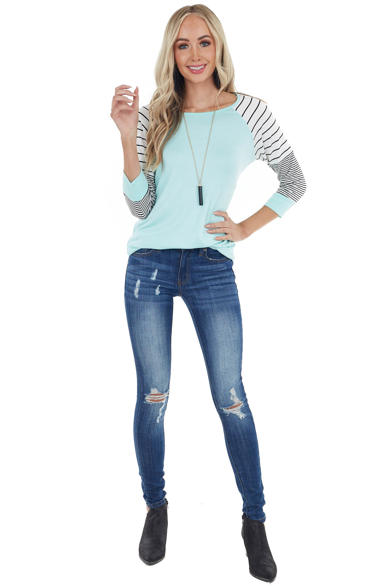 Turquoise 3/4 Striped Raglan Sleeve Top with Rounded Neck