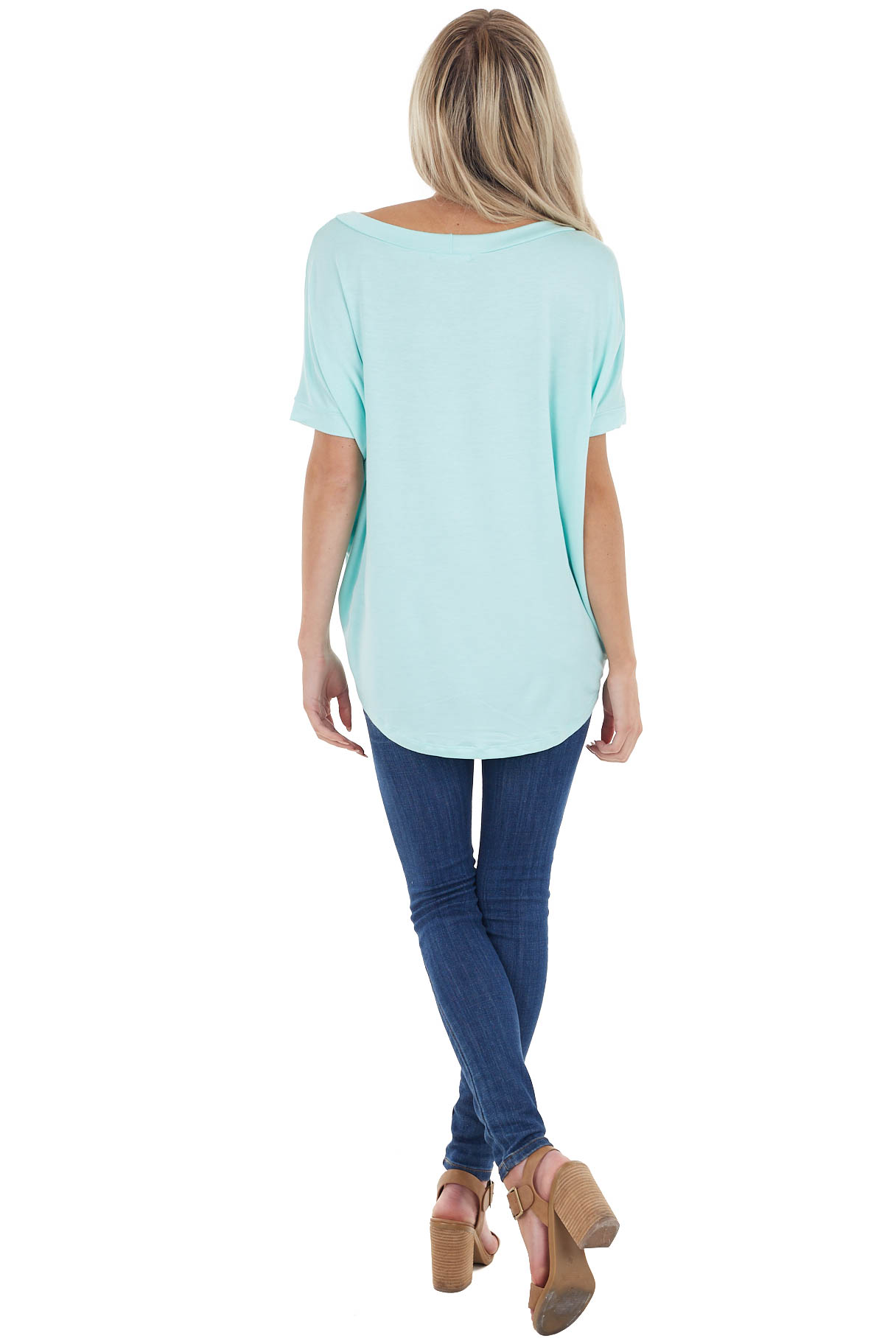Mint French Terry Knit Top with Short Dolman Sleeves