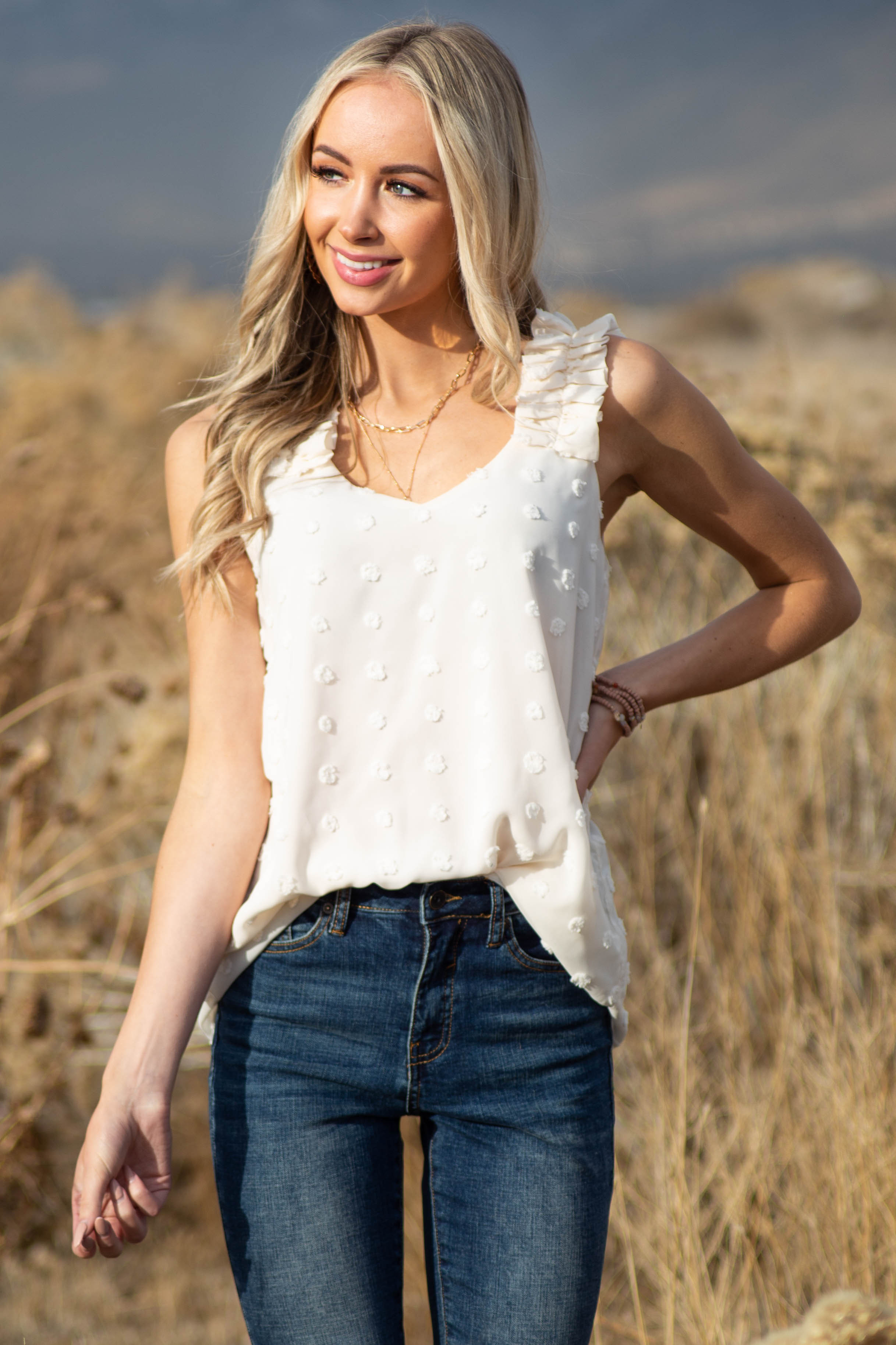 Beige Swiss Dot Woven Sleeveless Top with Ruffled Straps