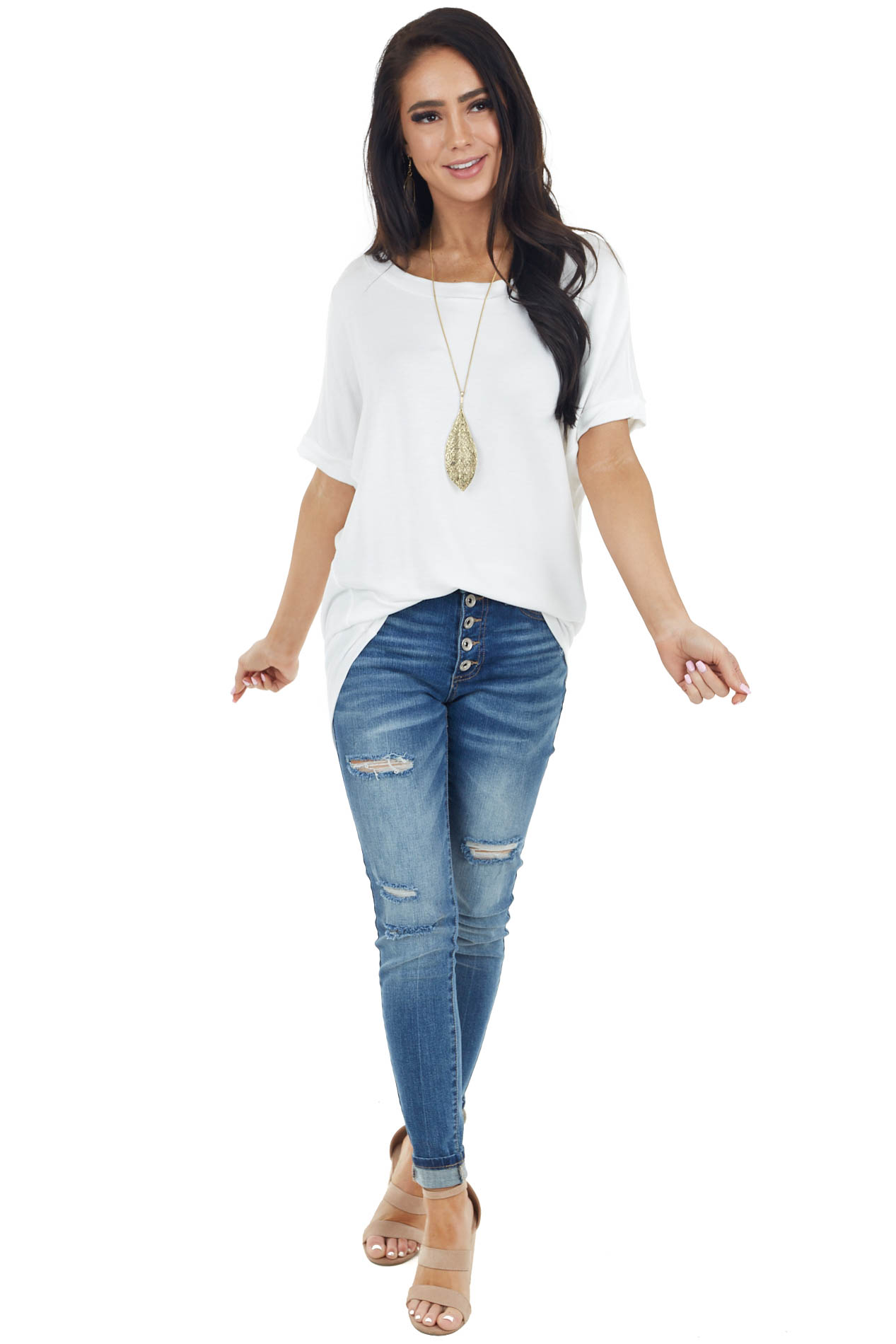 Ivory French Terry Knit Top with Short Dolman Sleeves