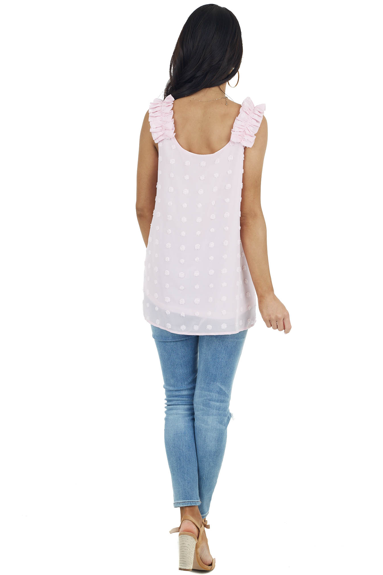 Baby Pink Swiss Dot Woven Sleeveless Top with Ruffled Straps