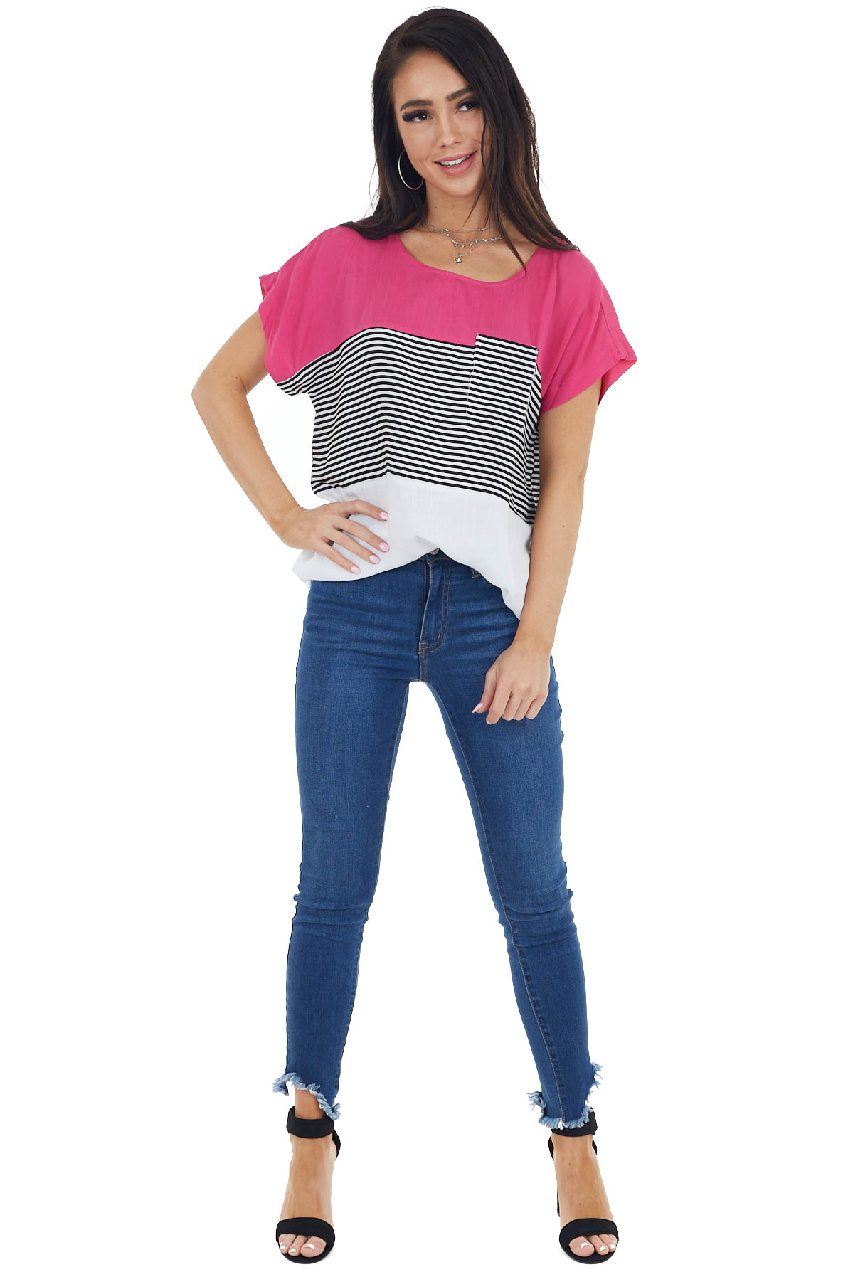 Fuchsia and White Colorblock Short Sleeve Top with Stripes