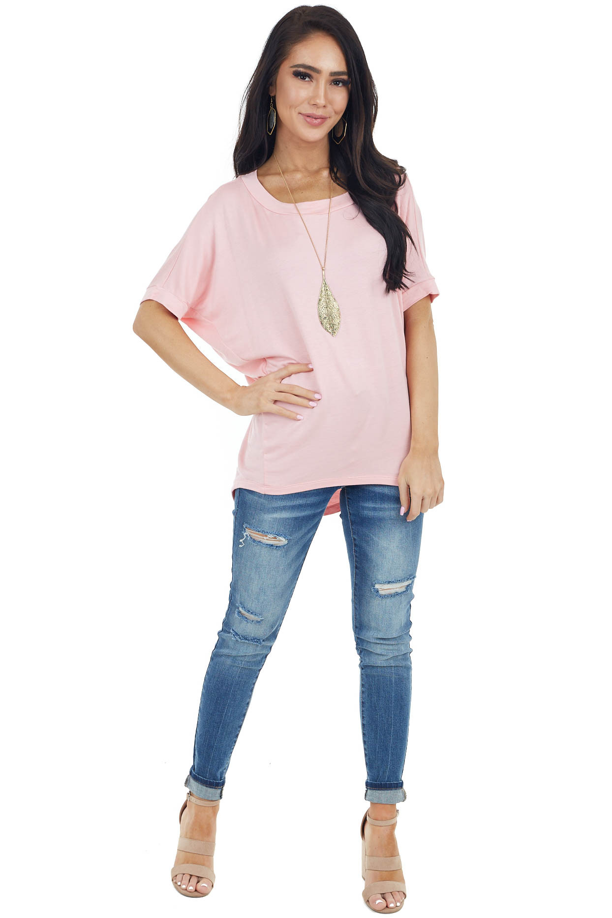Blush French Terry Knit Top with Short Dolman Sleeves