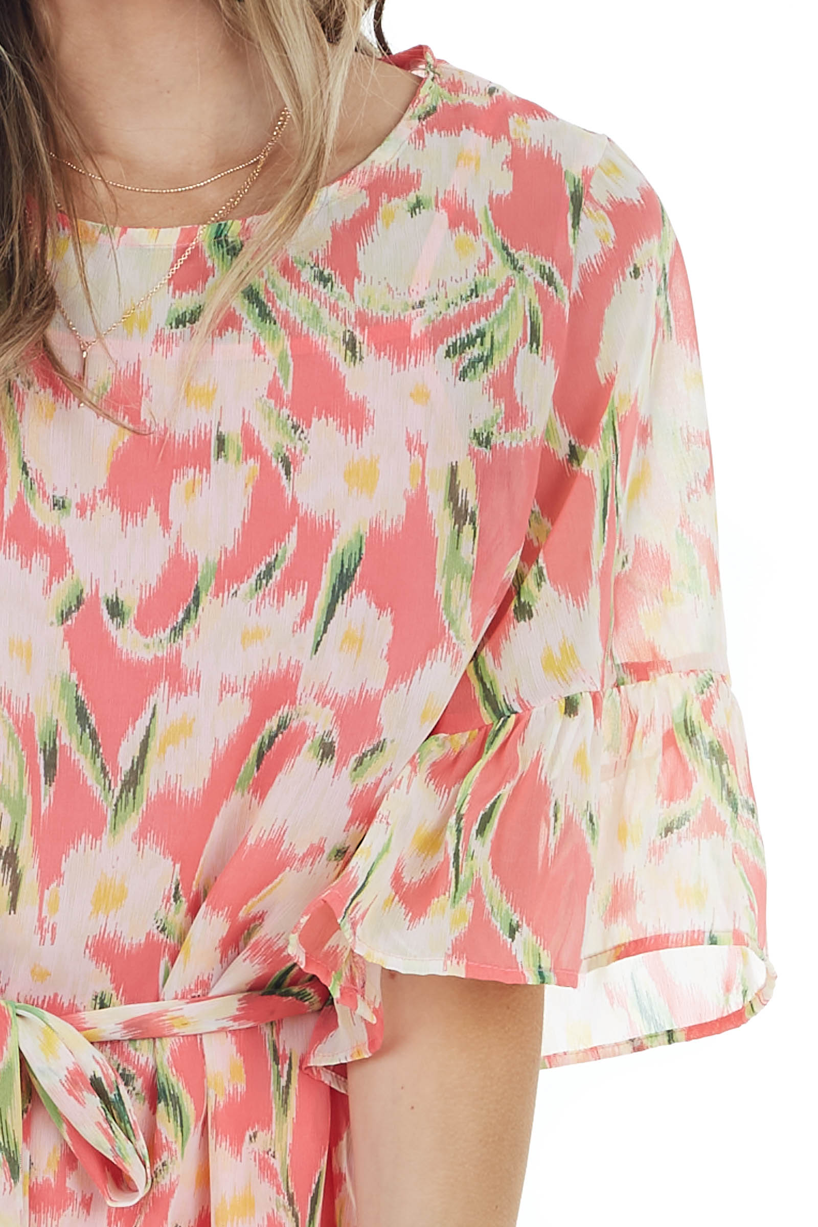 Coral Floral Print Chiffon Top with Front Tie and Ruffles