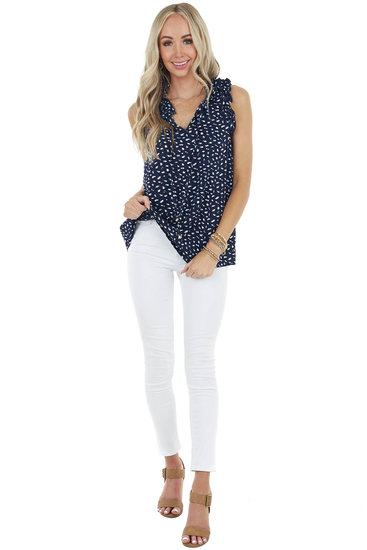 Navy Printed Sleeveless Top with Ruffle Detail and Front Tie