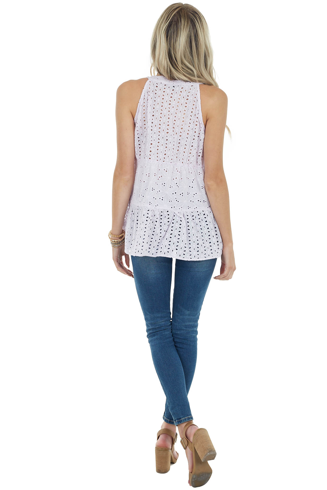Lilac Tiered Eyelet Lace Sleeveless Top with Button Detail