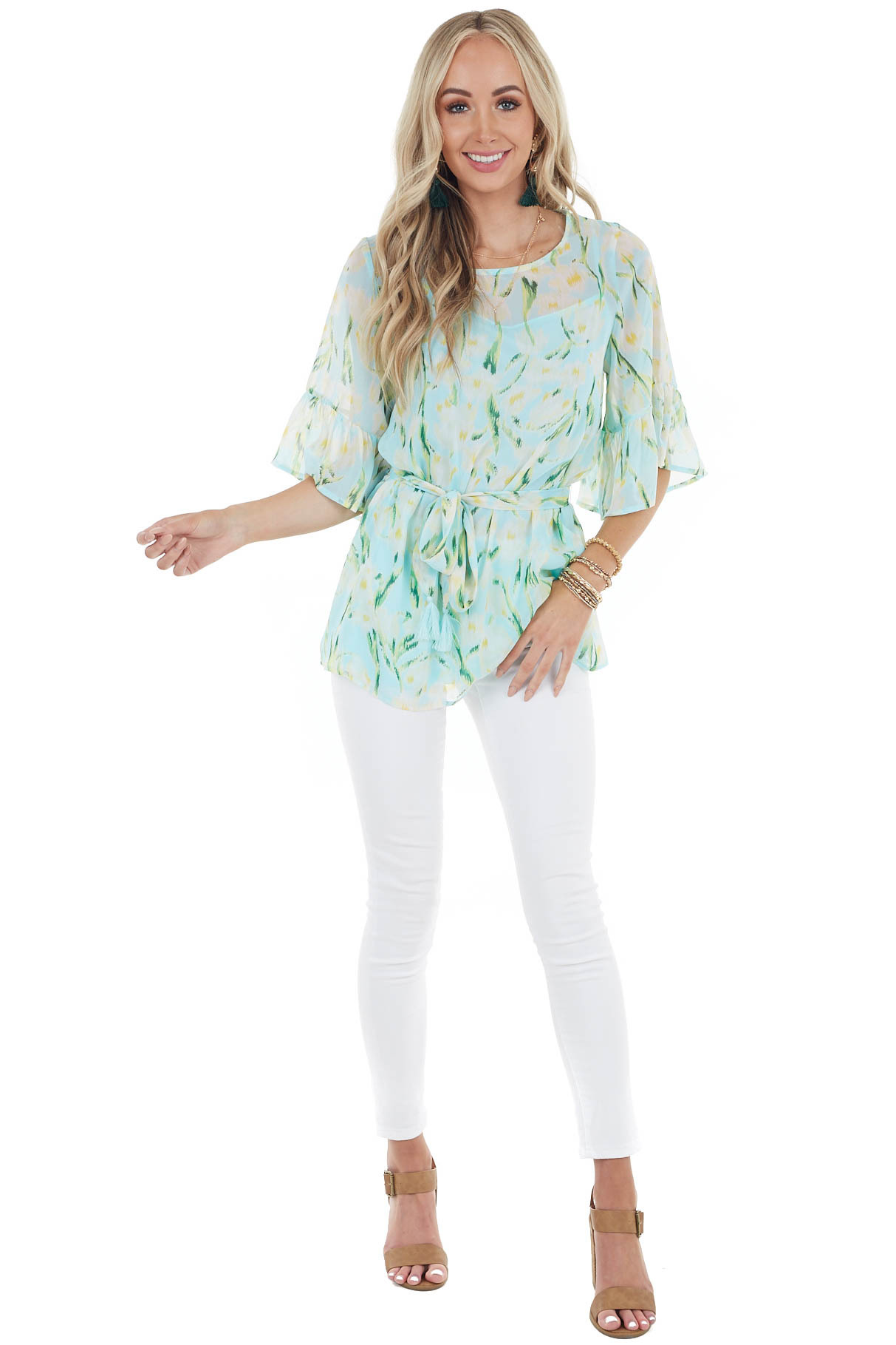 Sky Blue Floral Print Chiffon Top with Front Tie and Ruffles