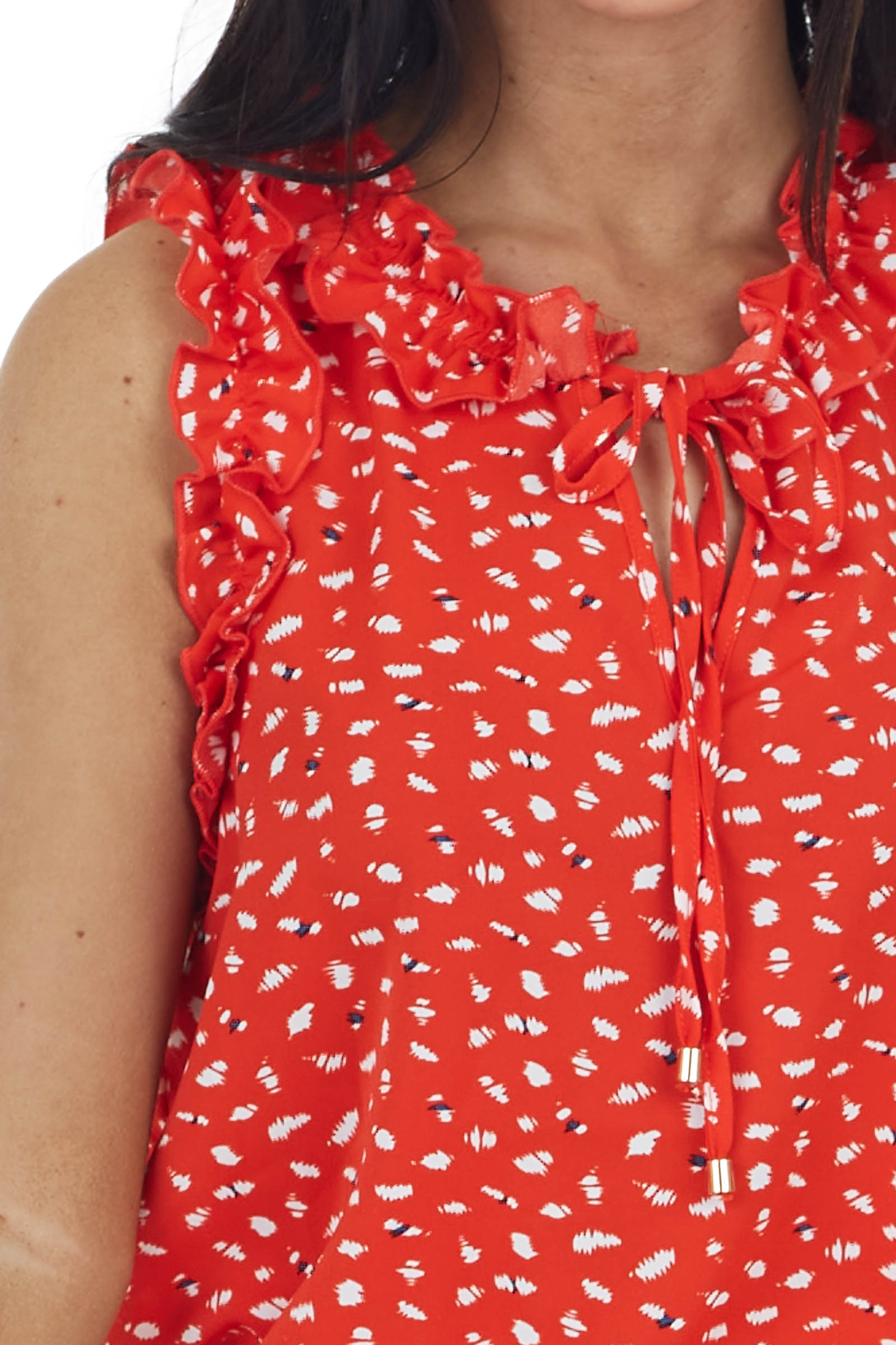 Ruby Printed Sleeveless Top with Ruffle Detail and Front Tie