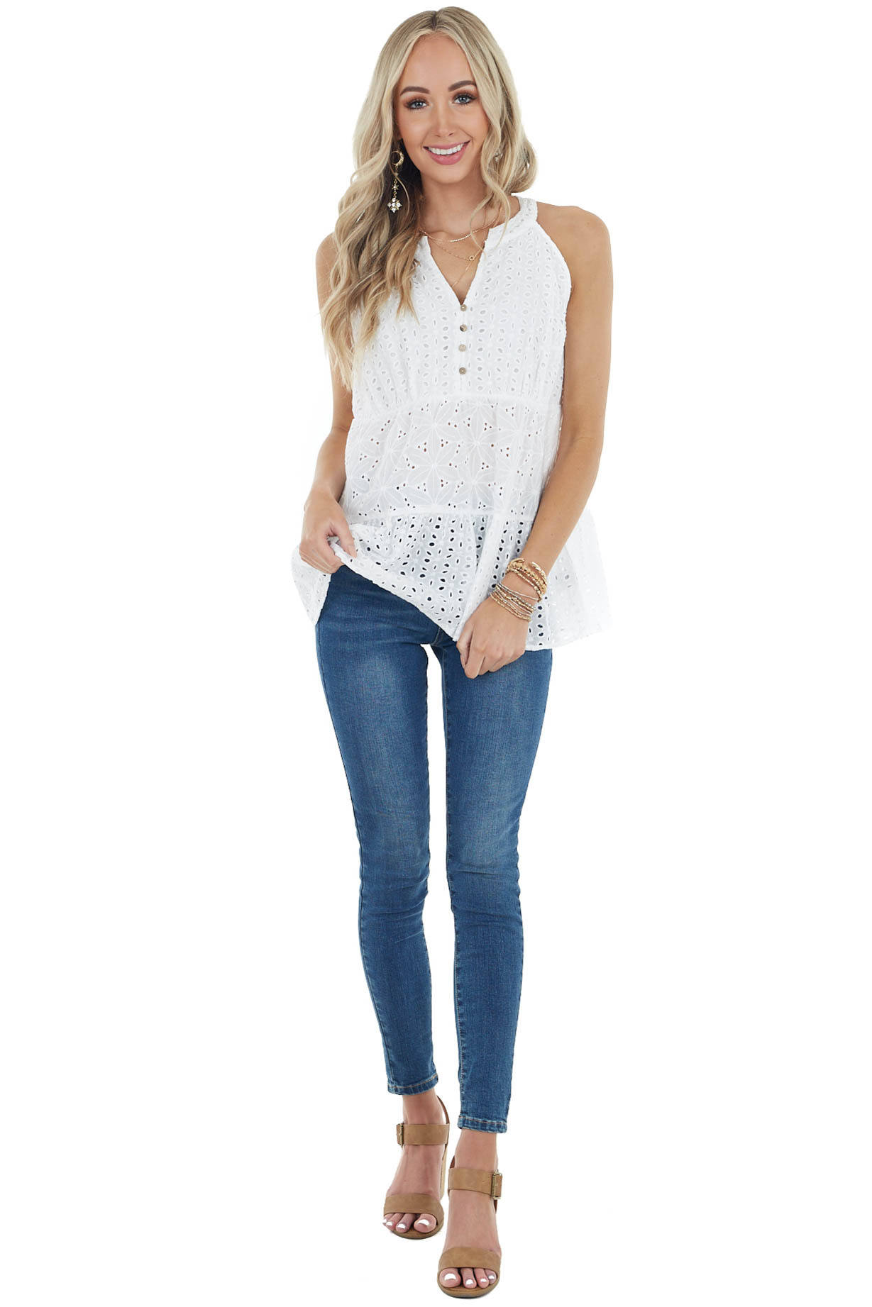 Ivory Tiered Eyelet Lace Sleeveless Top with Button Detail