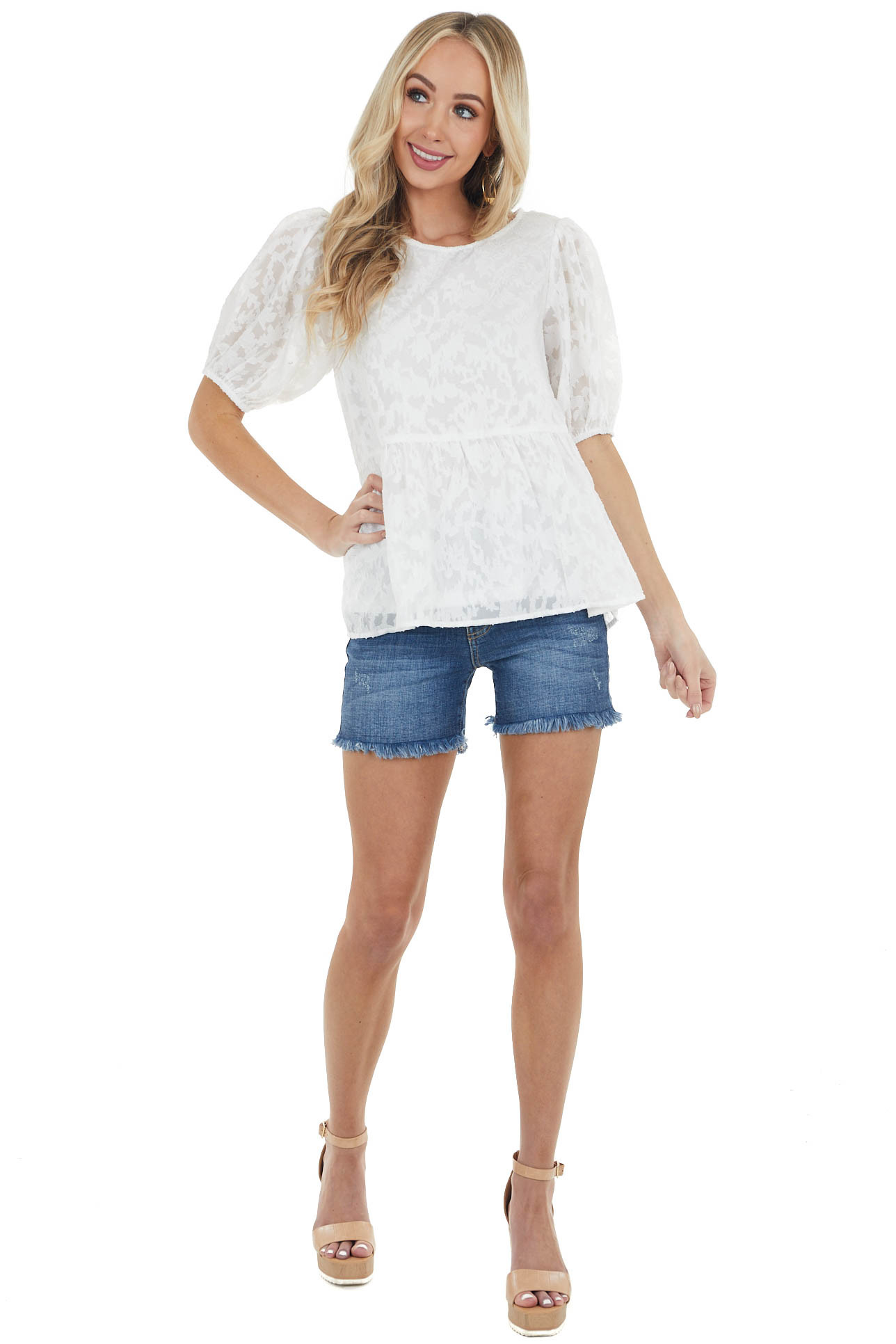 Off White Floral Lace Peplum Top with Short Puff Sleeves