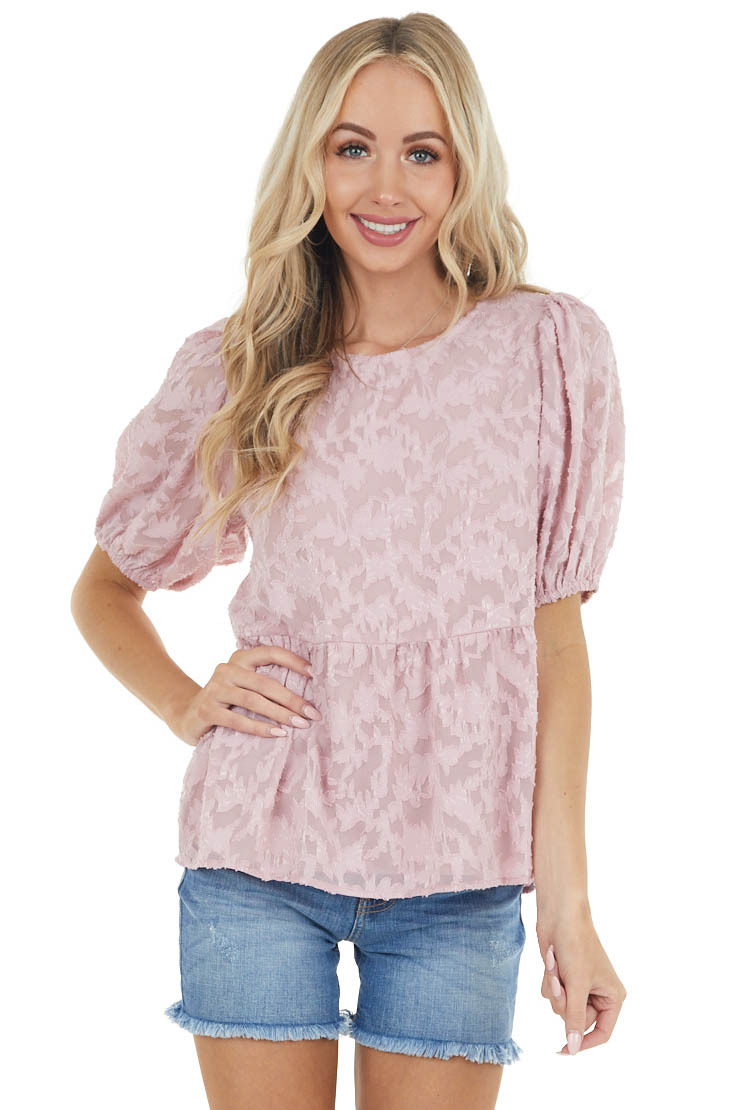 Dusty Blush Floral Lace Peplum Top with Short Puff Sleeves