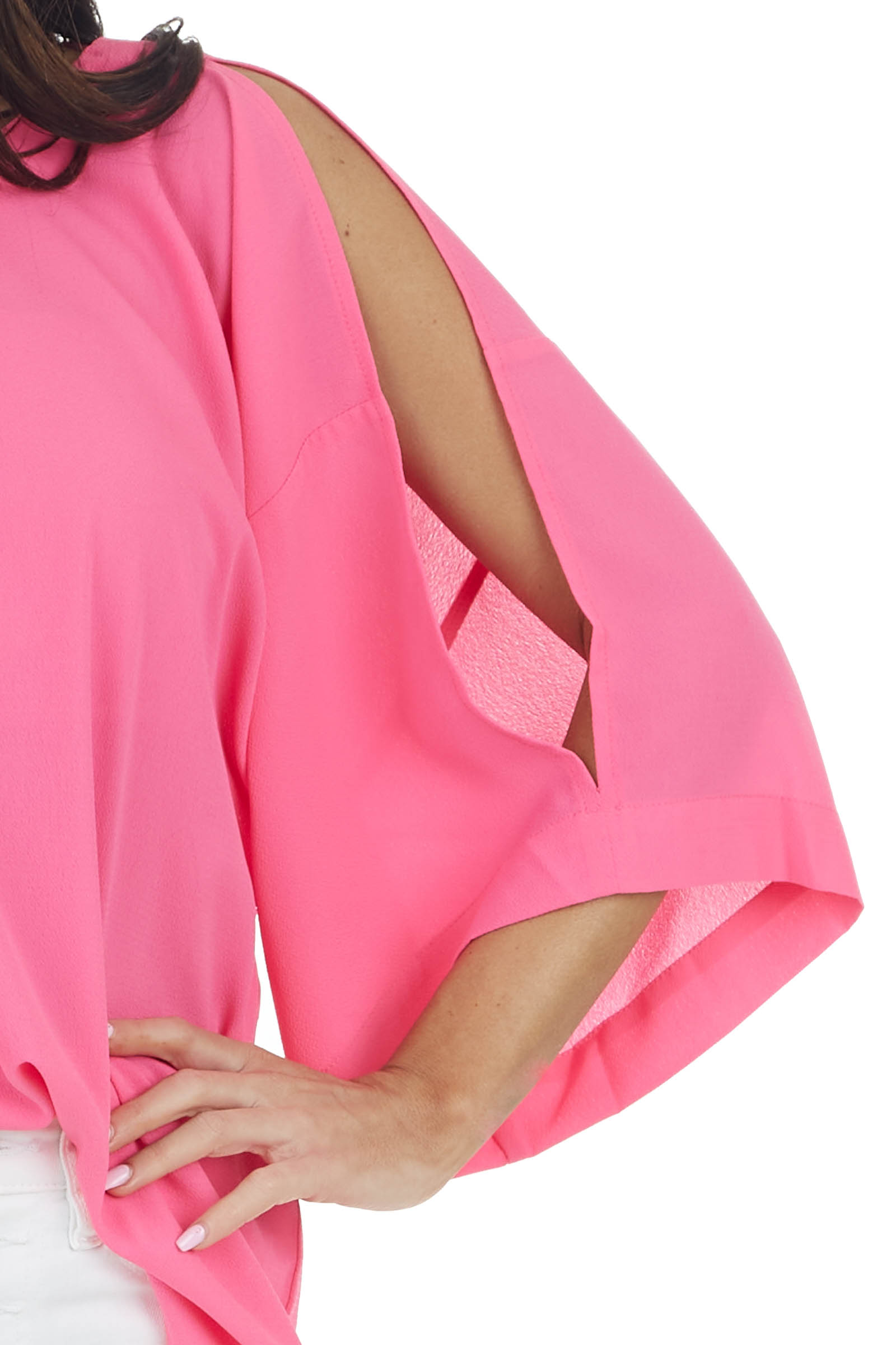 Neon Pink Open 3/4 Sleeve Blouse with Keyhole Back