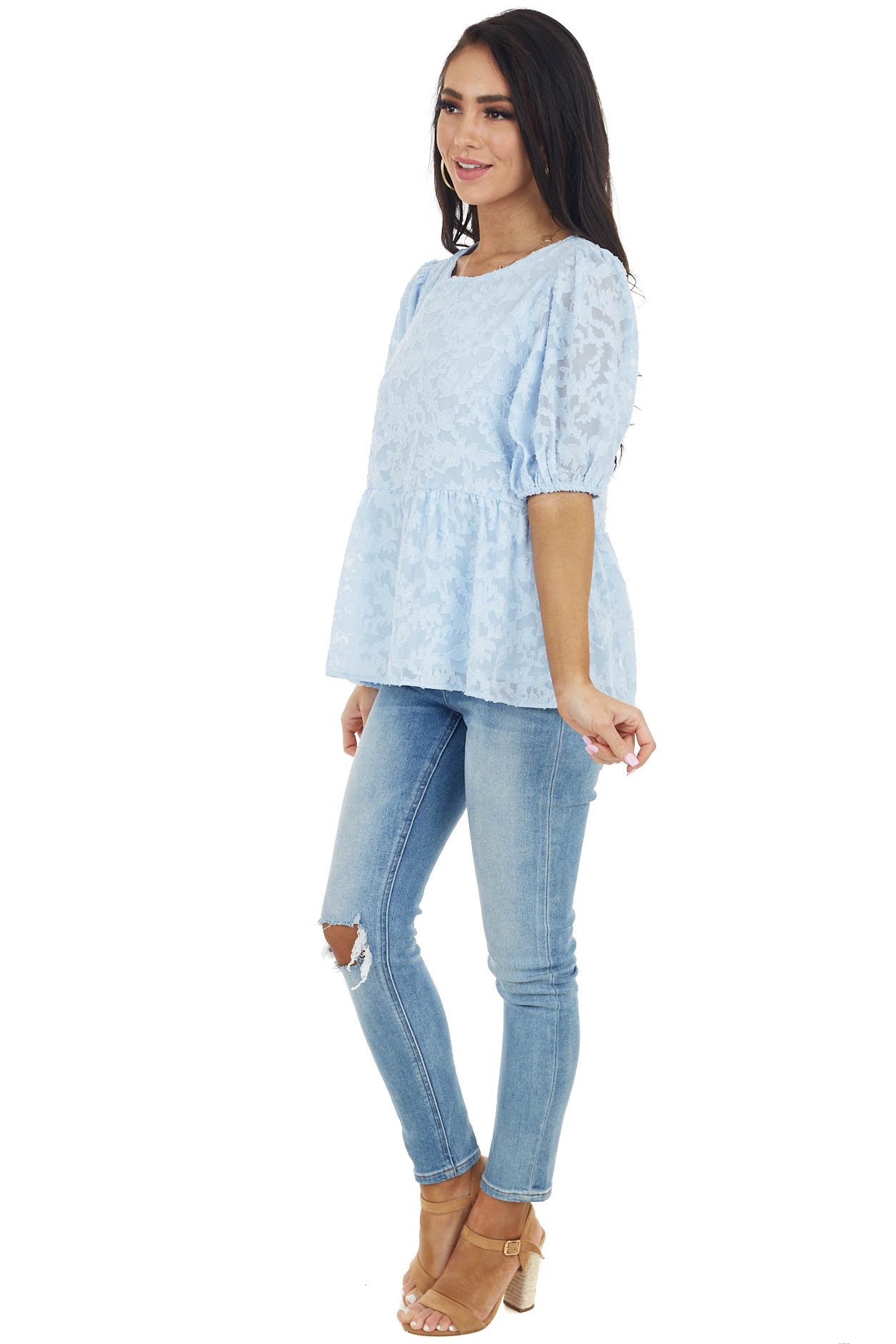 Powder Blue Floral Lace Peplum Top with Short Puff Sleeves