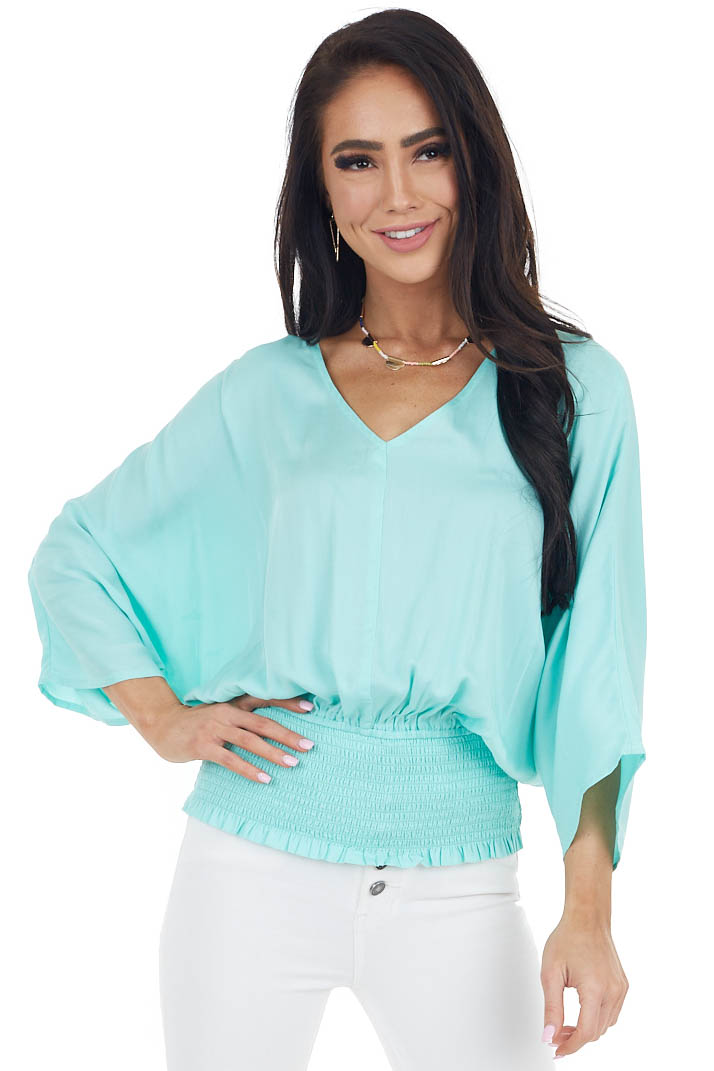 Turquoise V Neck Top with Smocked Waist and Kimono Sleeves