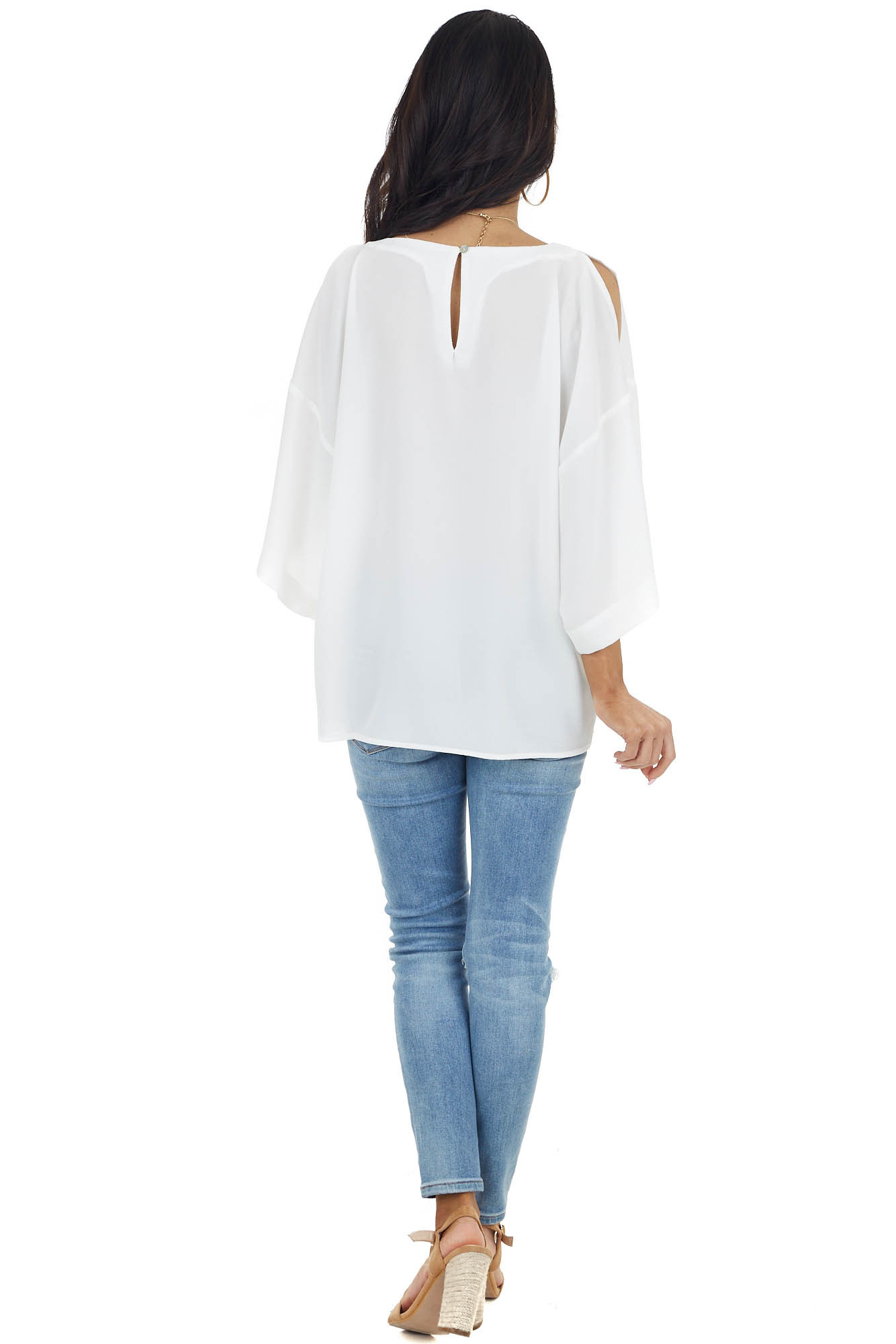 Off White Open 3/4 Sleeve Blouse with Keyhole Back
