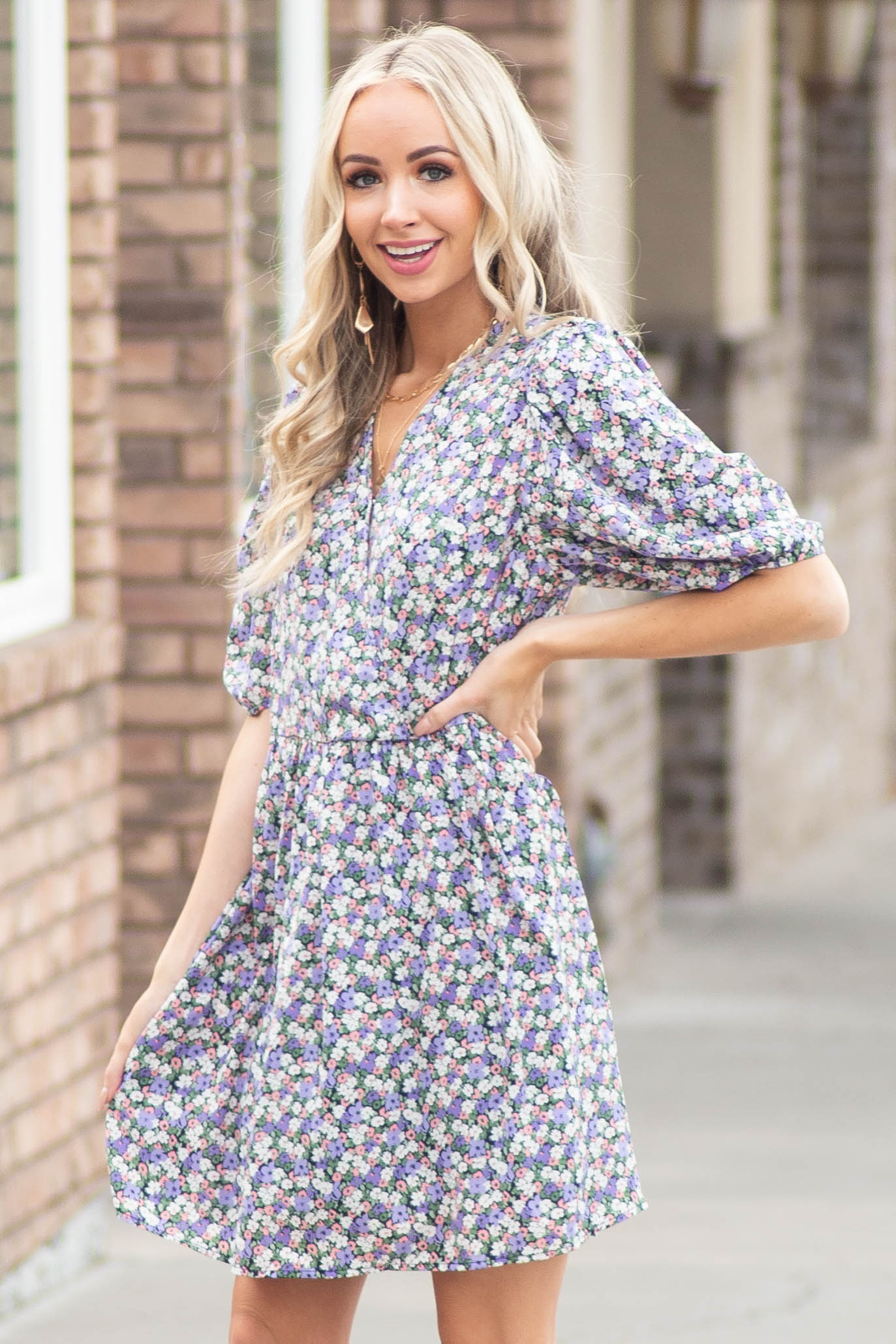 Lavender Floral Print Surplice Dress with Short Sleeves