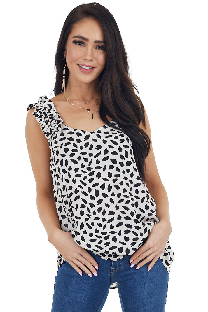 Oatmeal and Black Printed Sleeveless Top with Ruffle Details