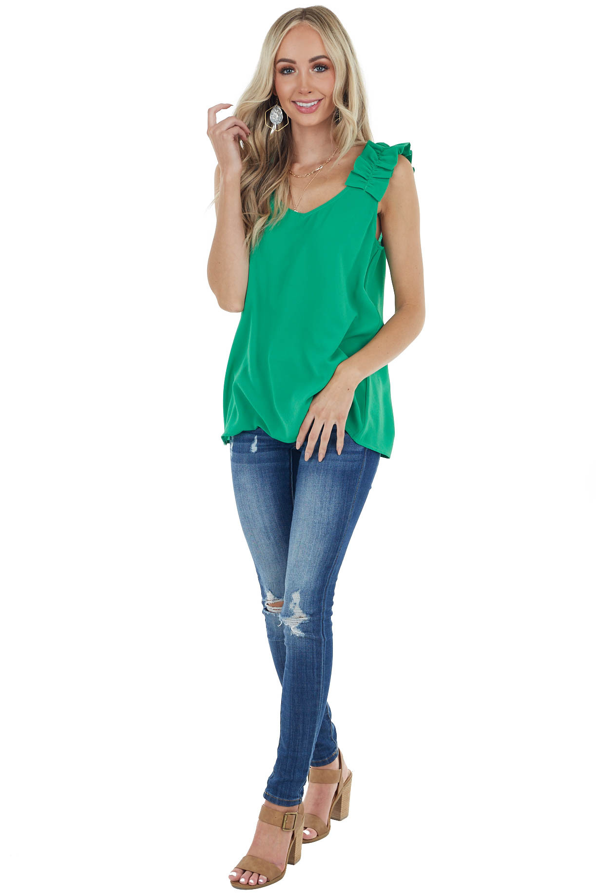 Kelly Green Textured Sleeveless Blouse with Ruffle Straps