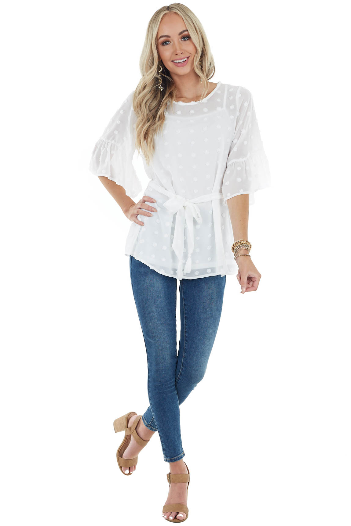 Ivory Swiss Dot Flare Sleeve Blouse with Tie Detail