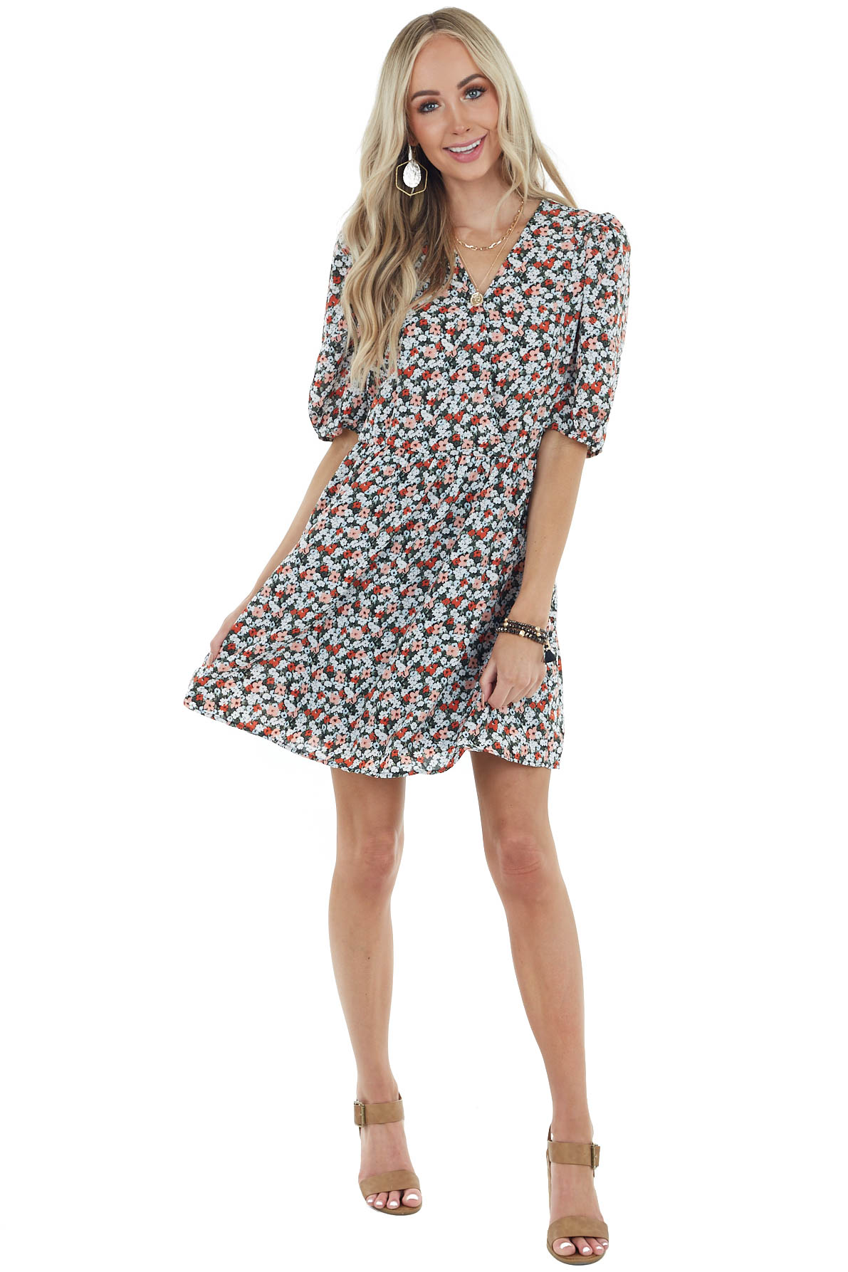 Peach Floral Print Surplice Dress with Short Sleeves