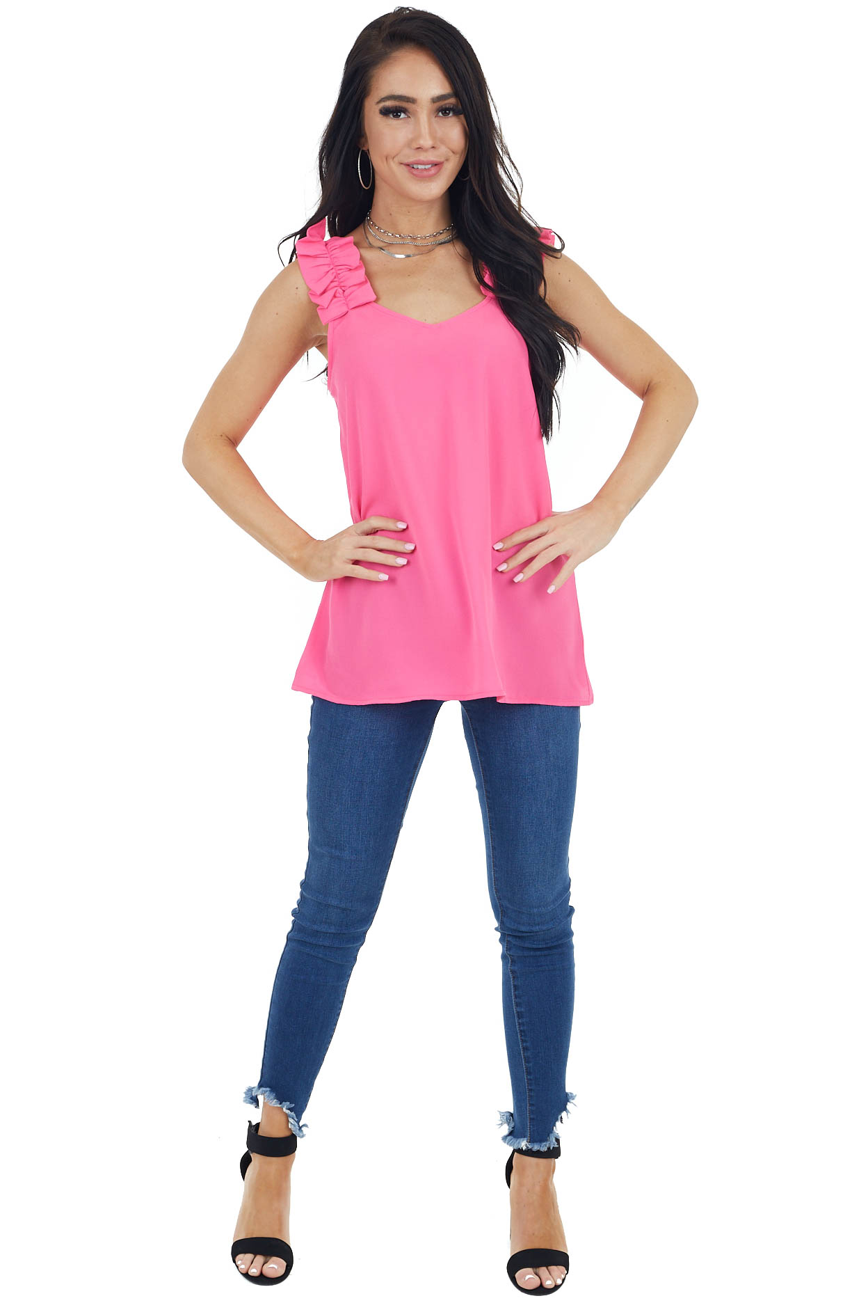 Hot Pink Textured Sleeveless Blouse with Ruffle Straps