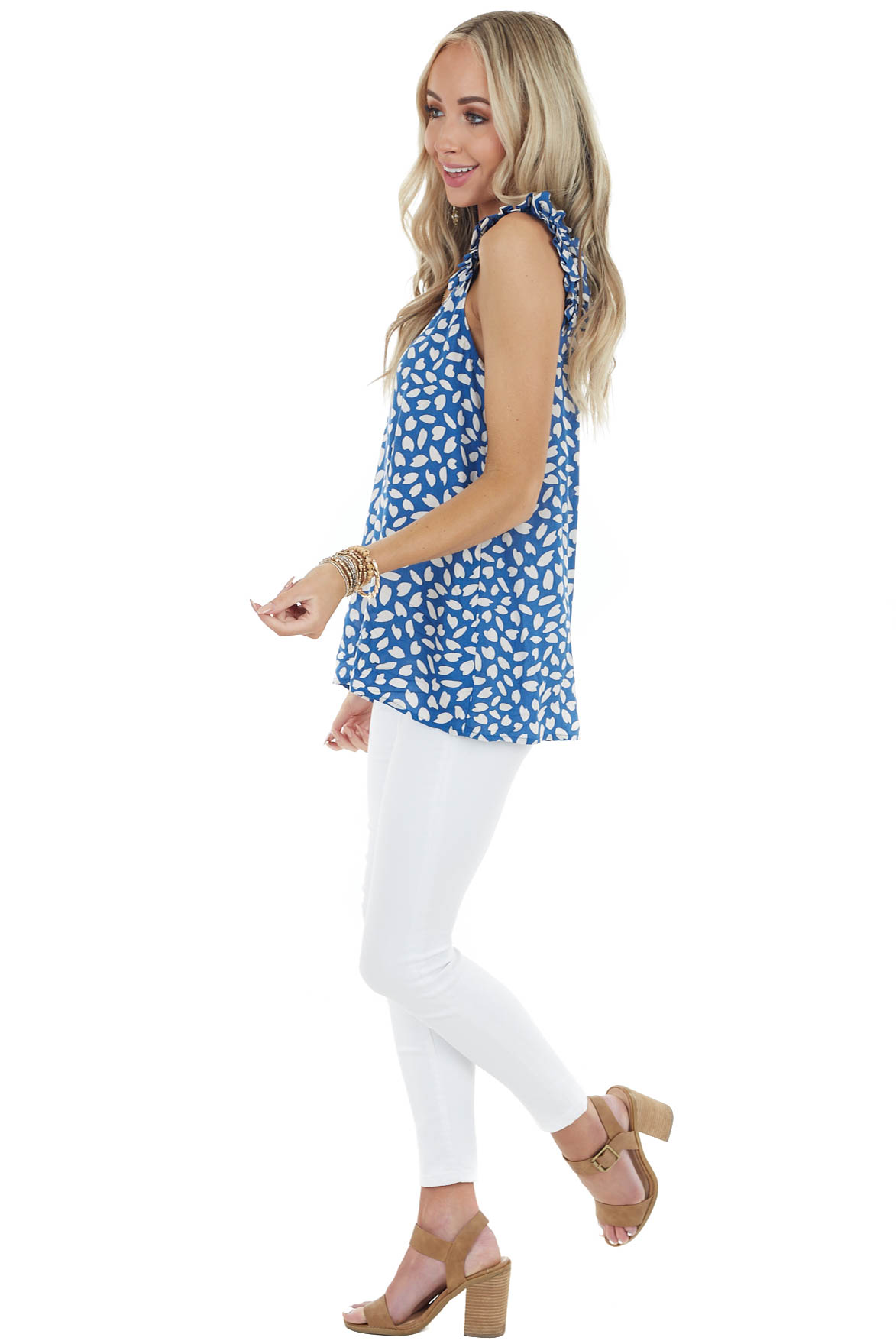 Ocean and Cream Printed Sleeveless Tops with Ruffle Details