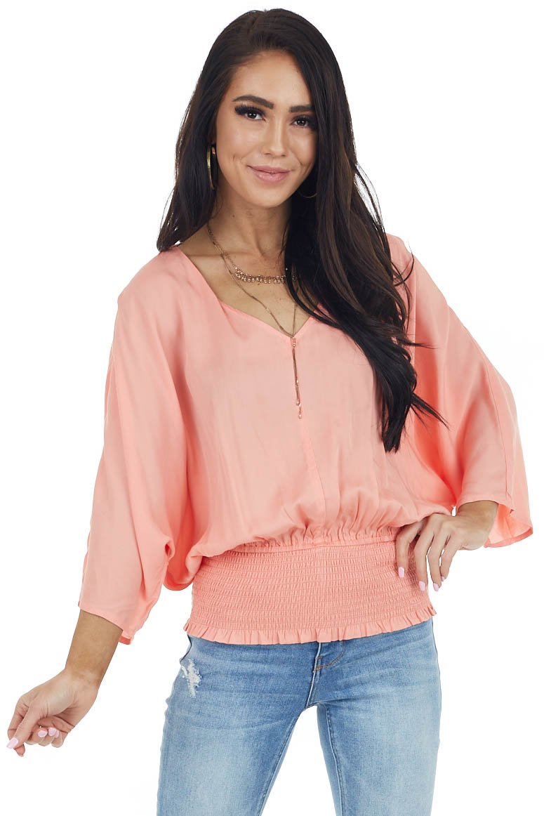 Peach V Neck Top with Smocked Waist and Kimono Sleeves