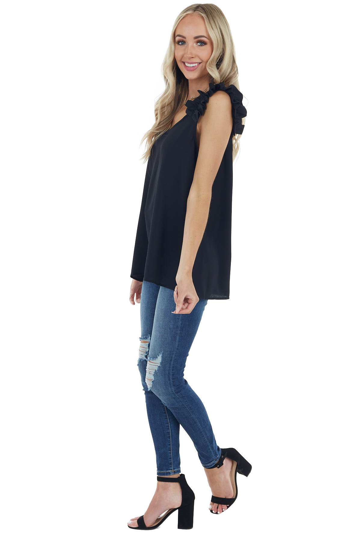 Black Textured Sleeveless Blouse with Ruffle Straps