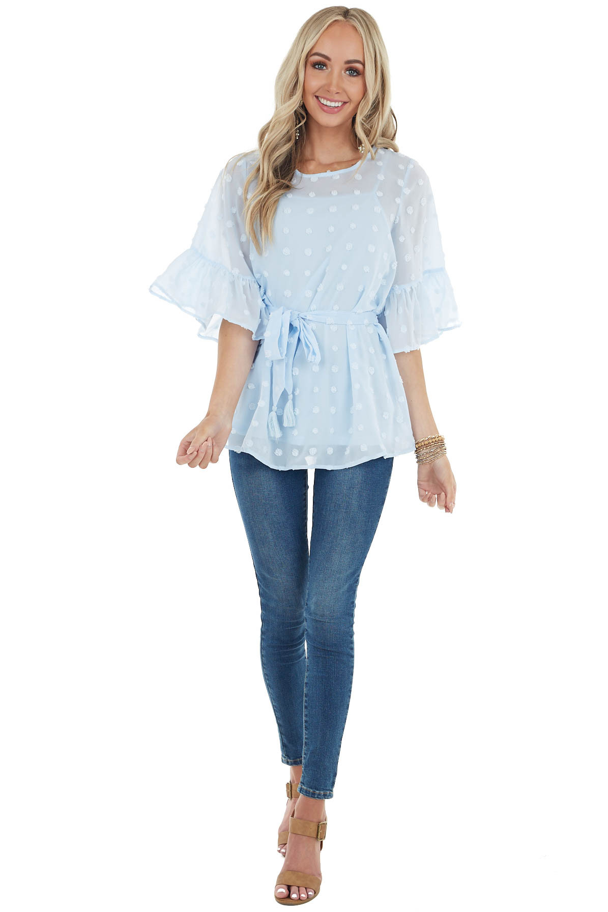 Baby Blue Swiss Dot Flare Sleeve Blouse with Tie Detail