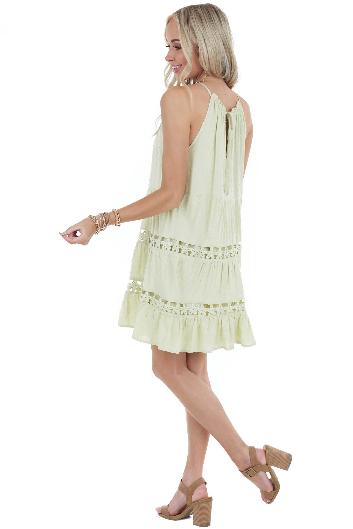 Pistachio Swiss Dot Halter Dress with Floral Eyelet Lace