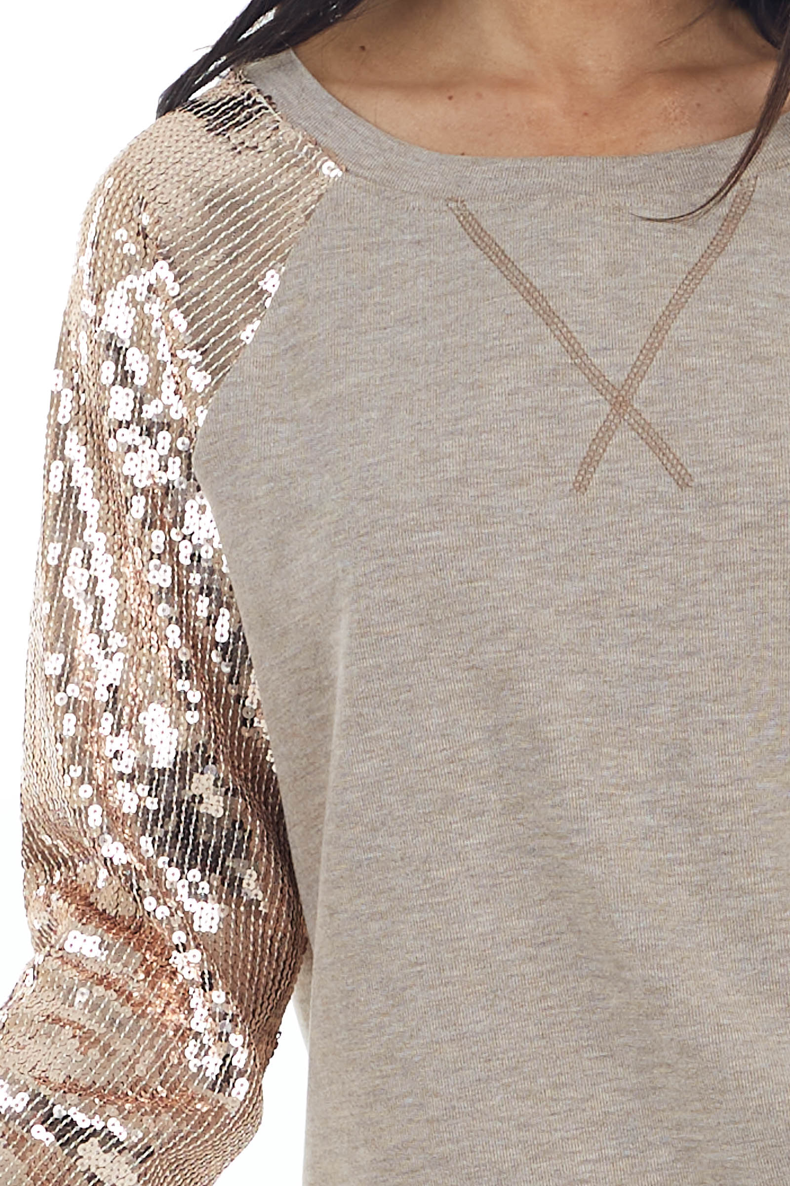 Heathered Taupe Knit Pullover with Sequined Long Sleeves
