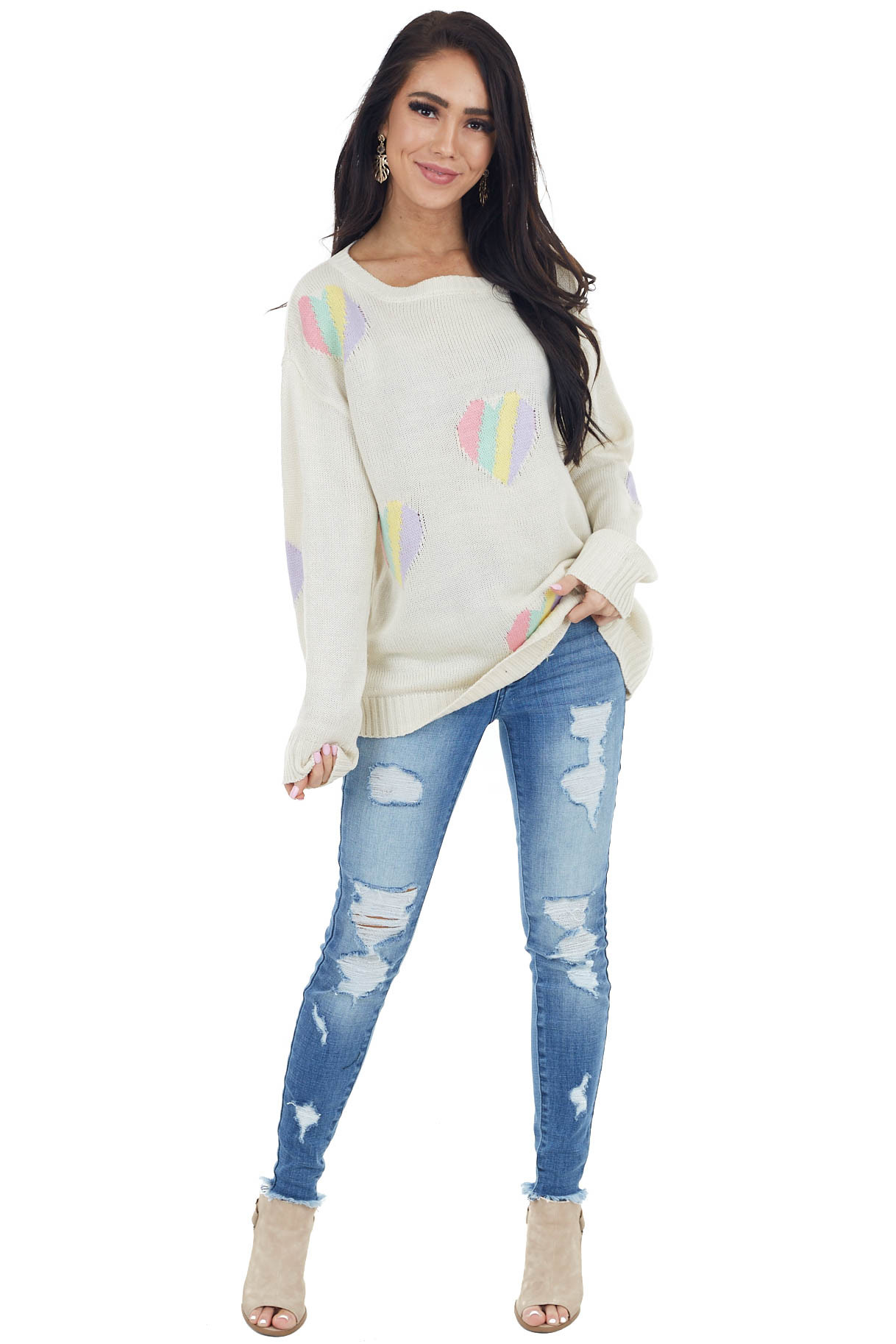 Cream and Pastel Multicolor Heart Print Long Sleeve Sweater